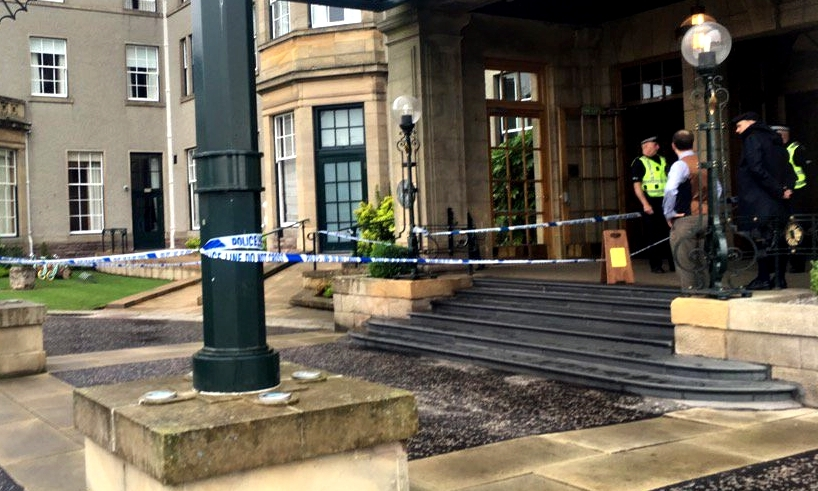 The entrance cordoned off by police.