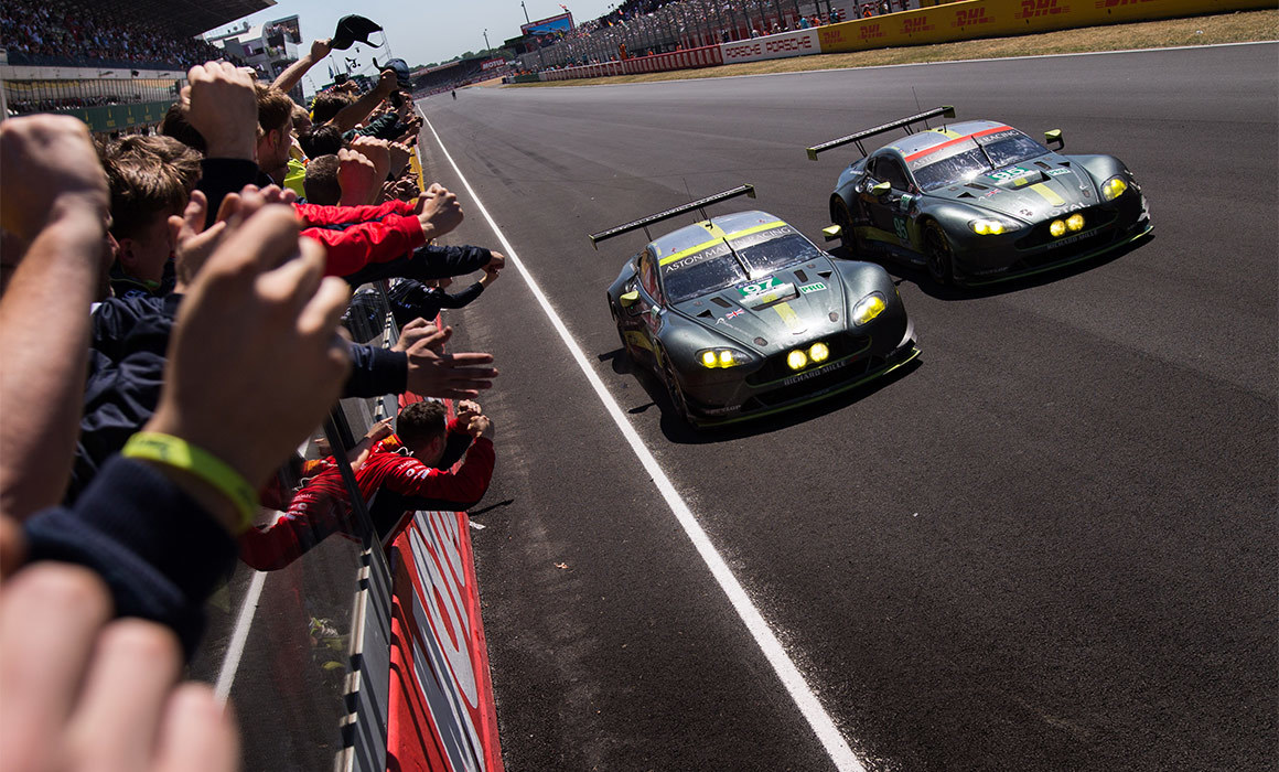 Jonny Adam #97 takes victory alongside the #95 sister Aston Martin at Le Mans