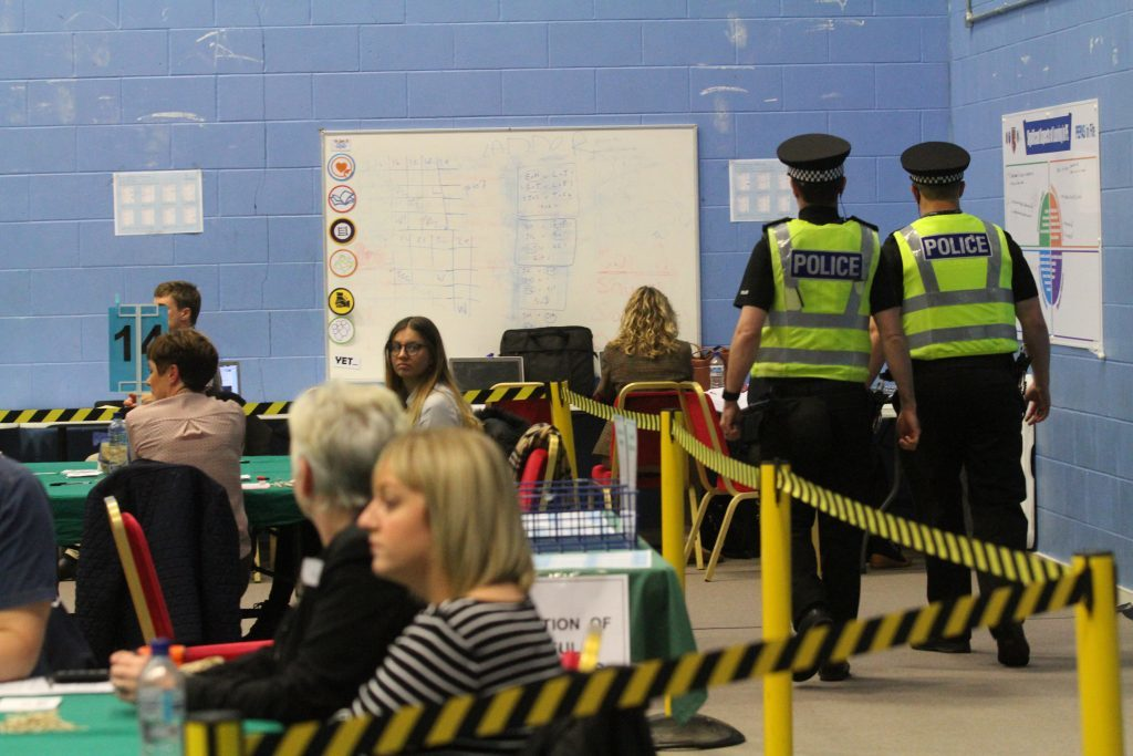 Police are on duty at Glenrothes High School for the count.