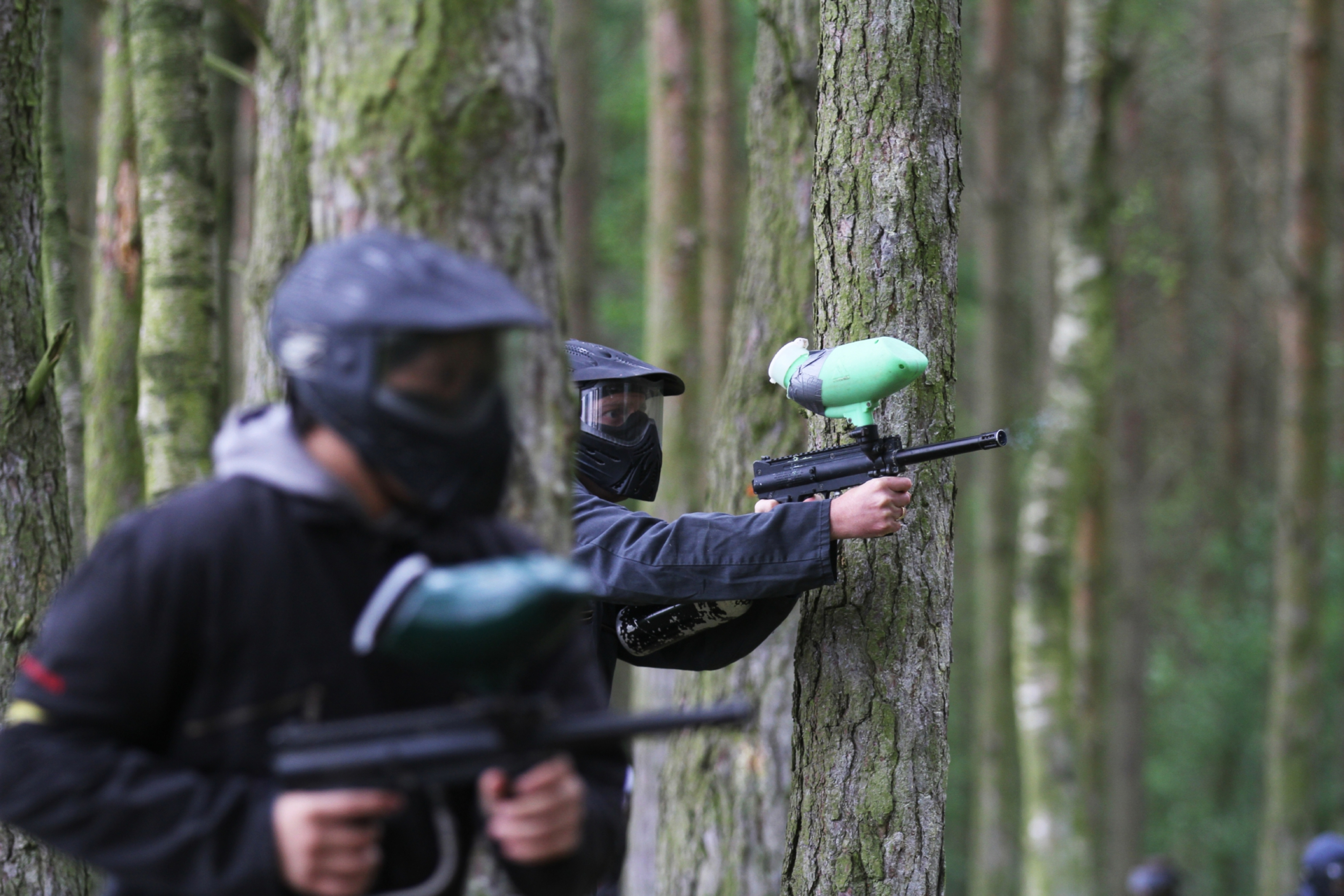 Paintballingin a forest near Edzell.