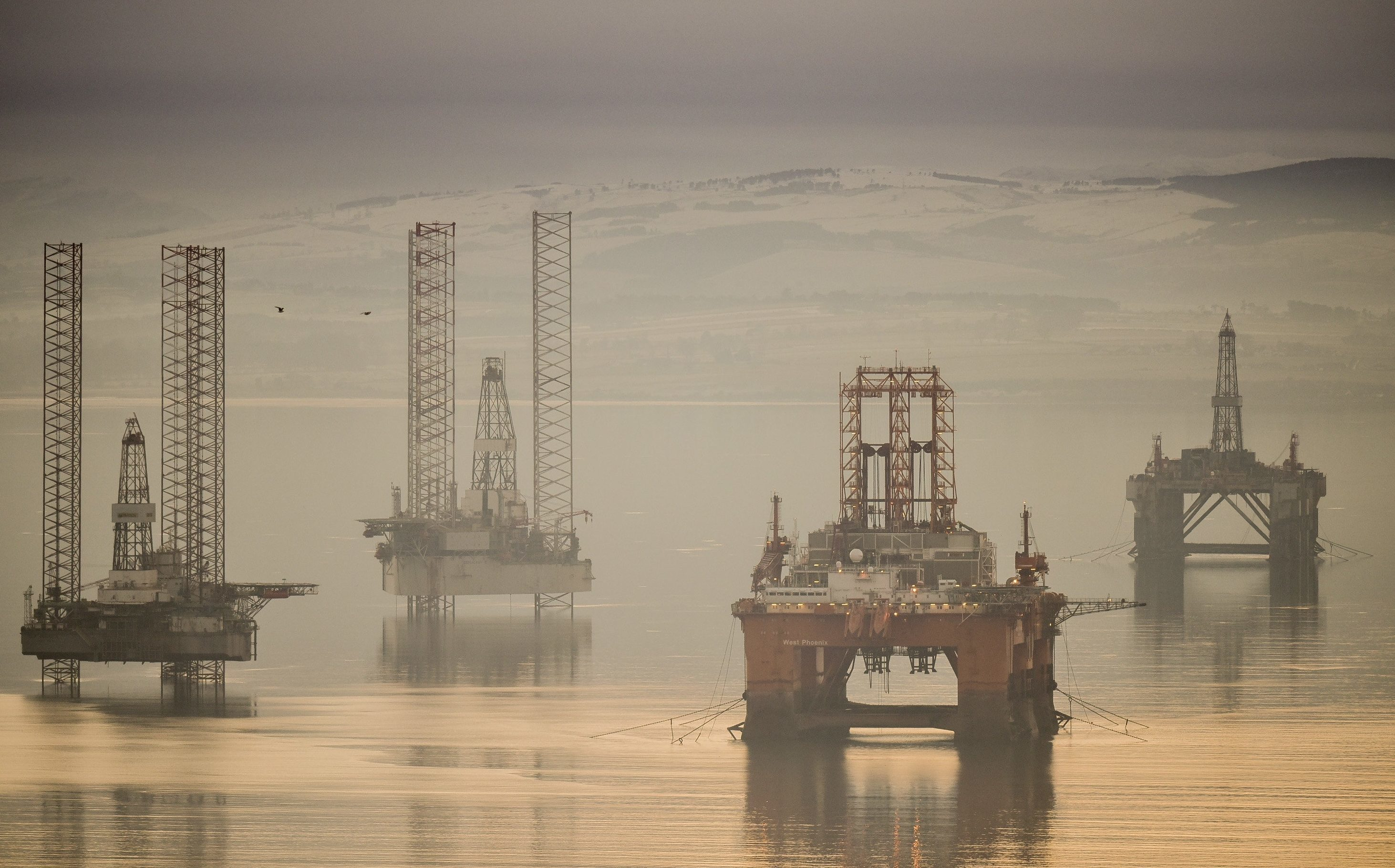 The oil rig graveyard in the Cromarty Firth near Invergordon, Highland.