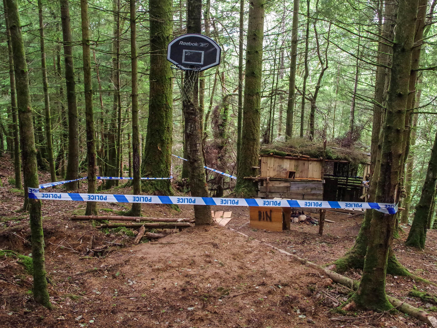 A local farmer was shocked to find a hut and mountain bike track created within Cowden Woods, Comrie. Police are now investigating but some locals want to see it saved.