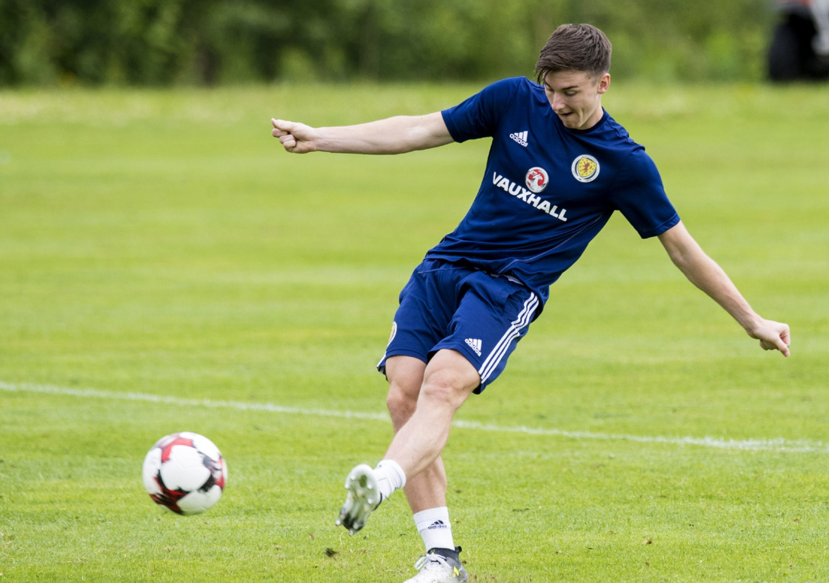 Kieran Tierney training on his own at Mar Hall.