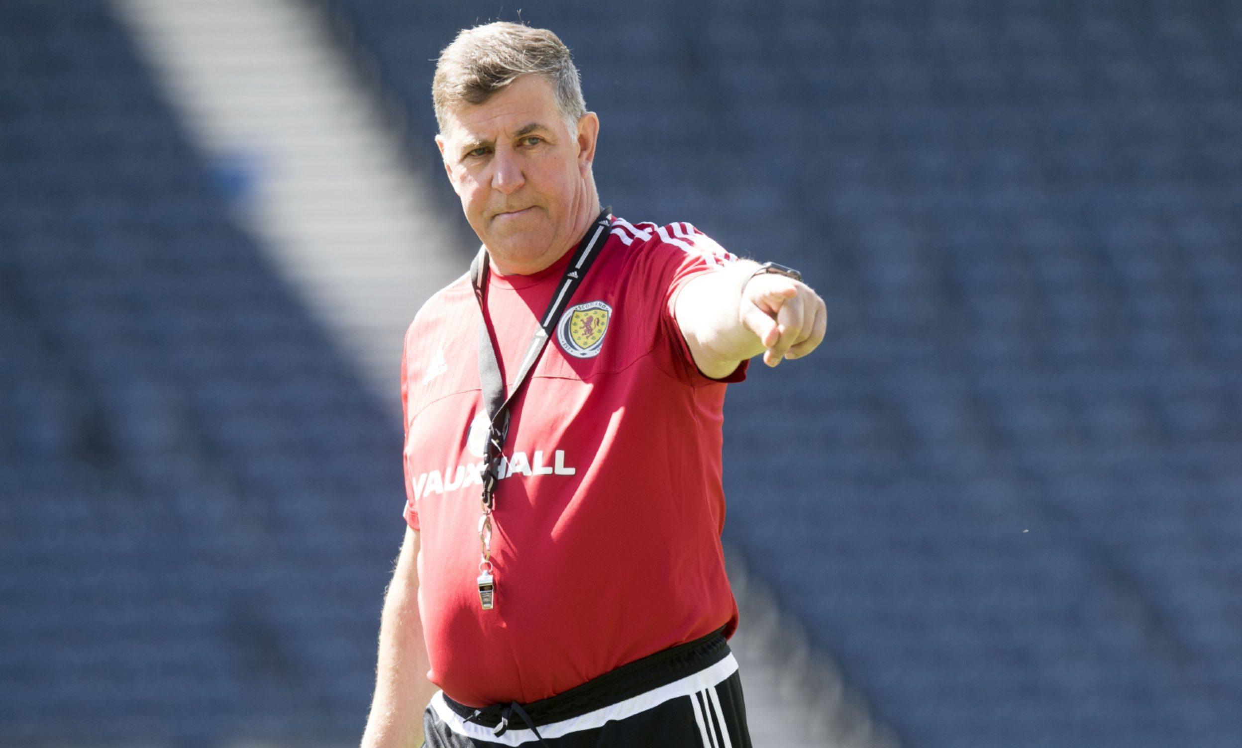 Mark McGhee during training at Hampden.