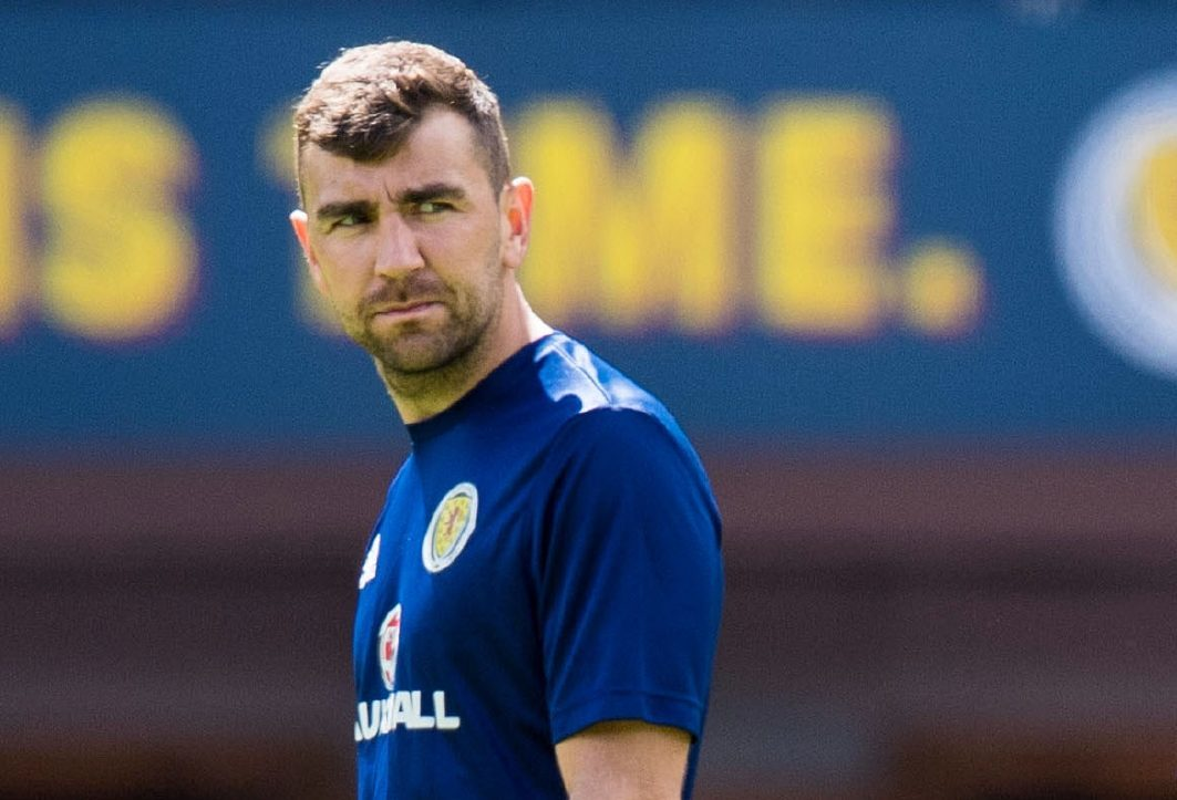James McArthur during training on the Hampden pitch.