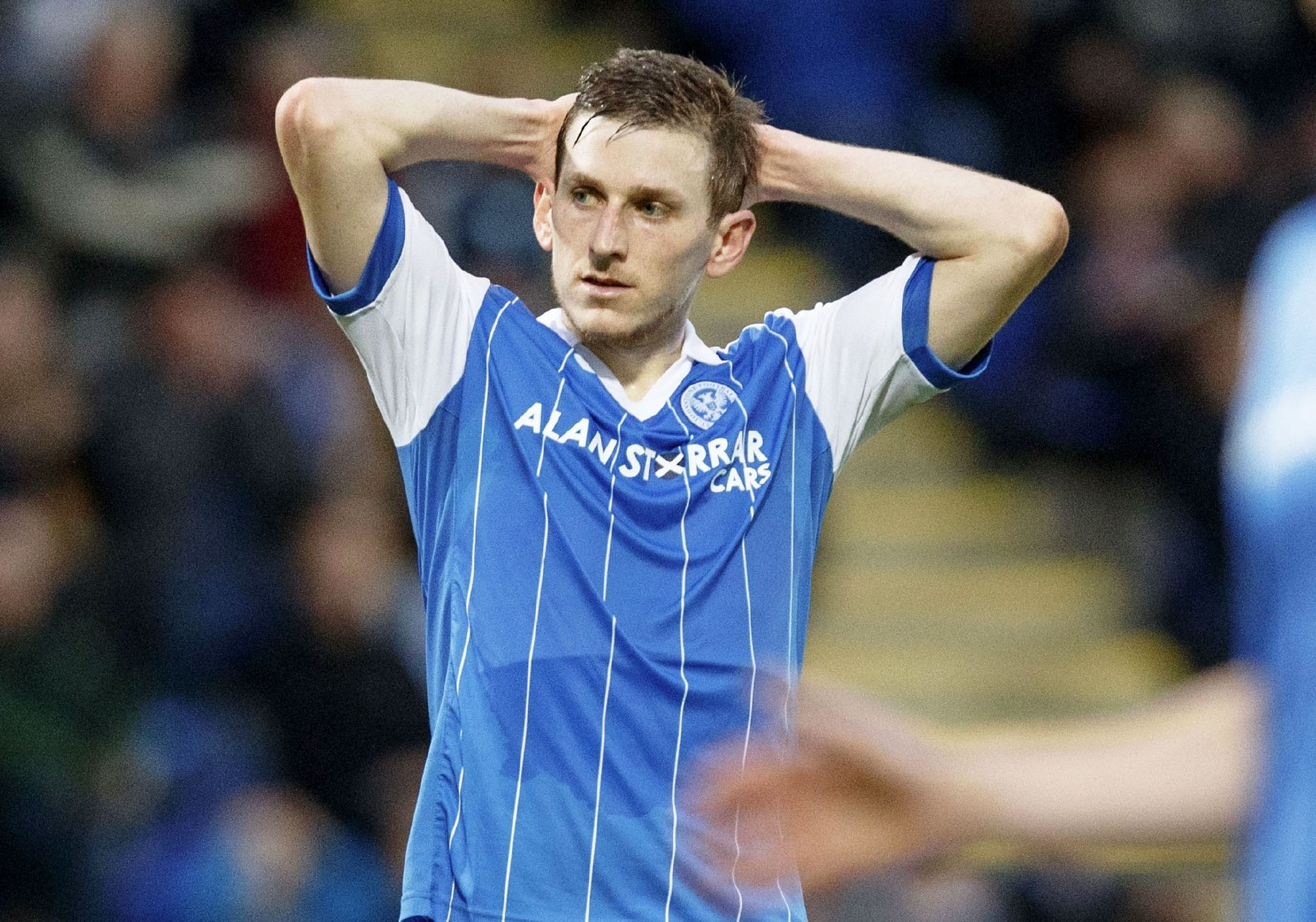 A dejected Blair Alston after St Johnstone lost to FK Trakai.
