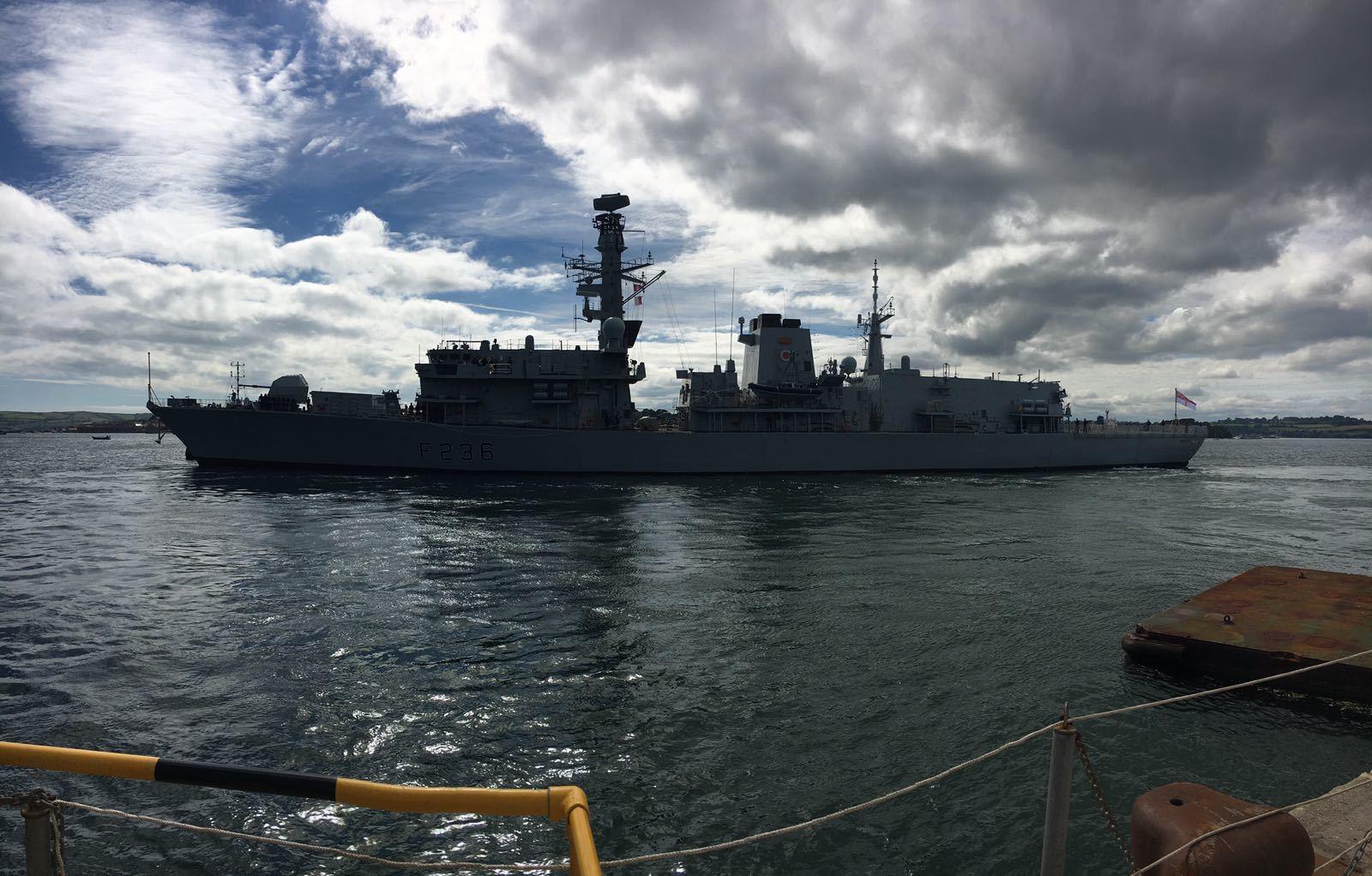 HMS MONTROSE leaving harbour for sea trials