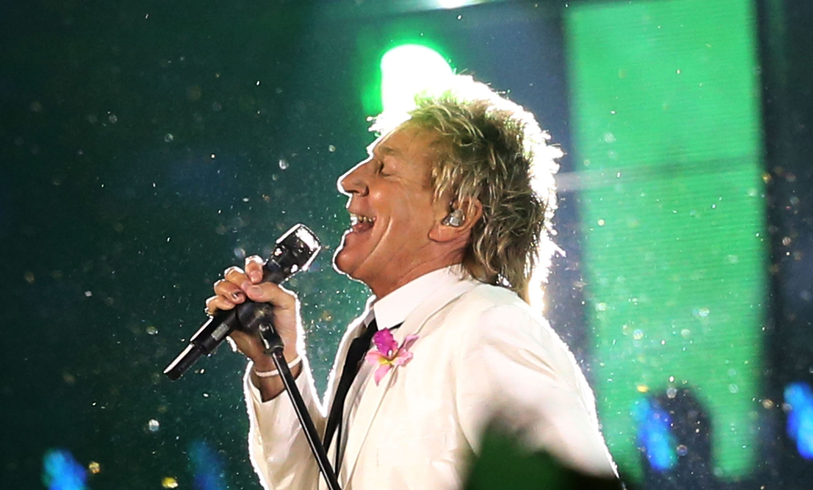 Singer Sir Rod Stewart performs during the Opening Ceremony for the Glasgow 2014 Commonwealth Games.