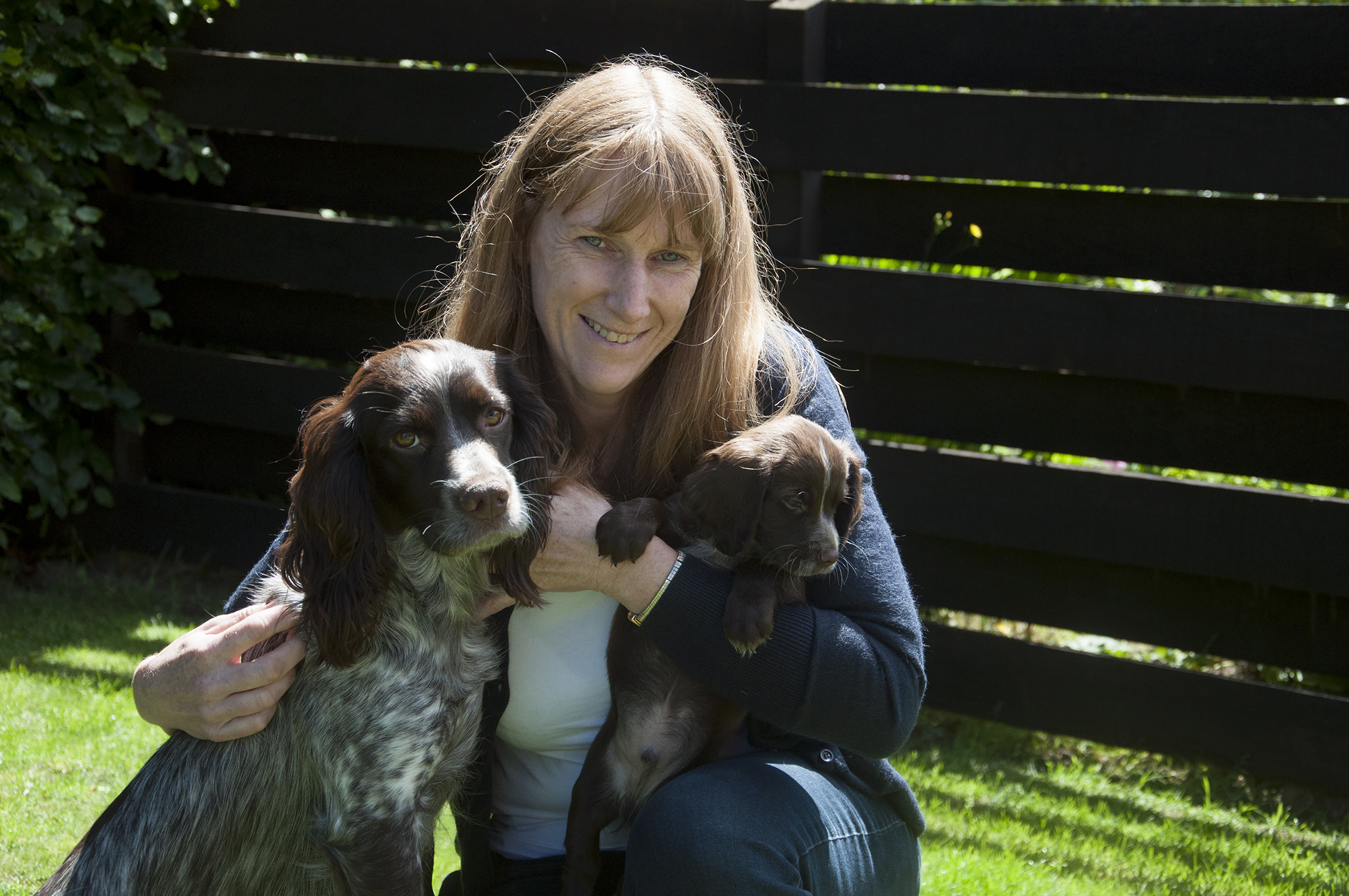Jacqui Low with her dog, Fern and pup Antis before he went to Bravehound