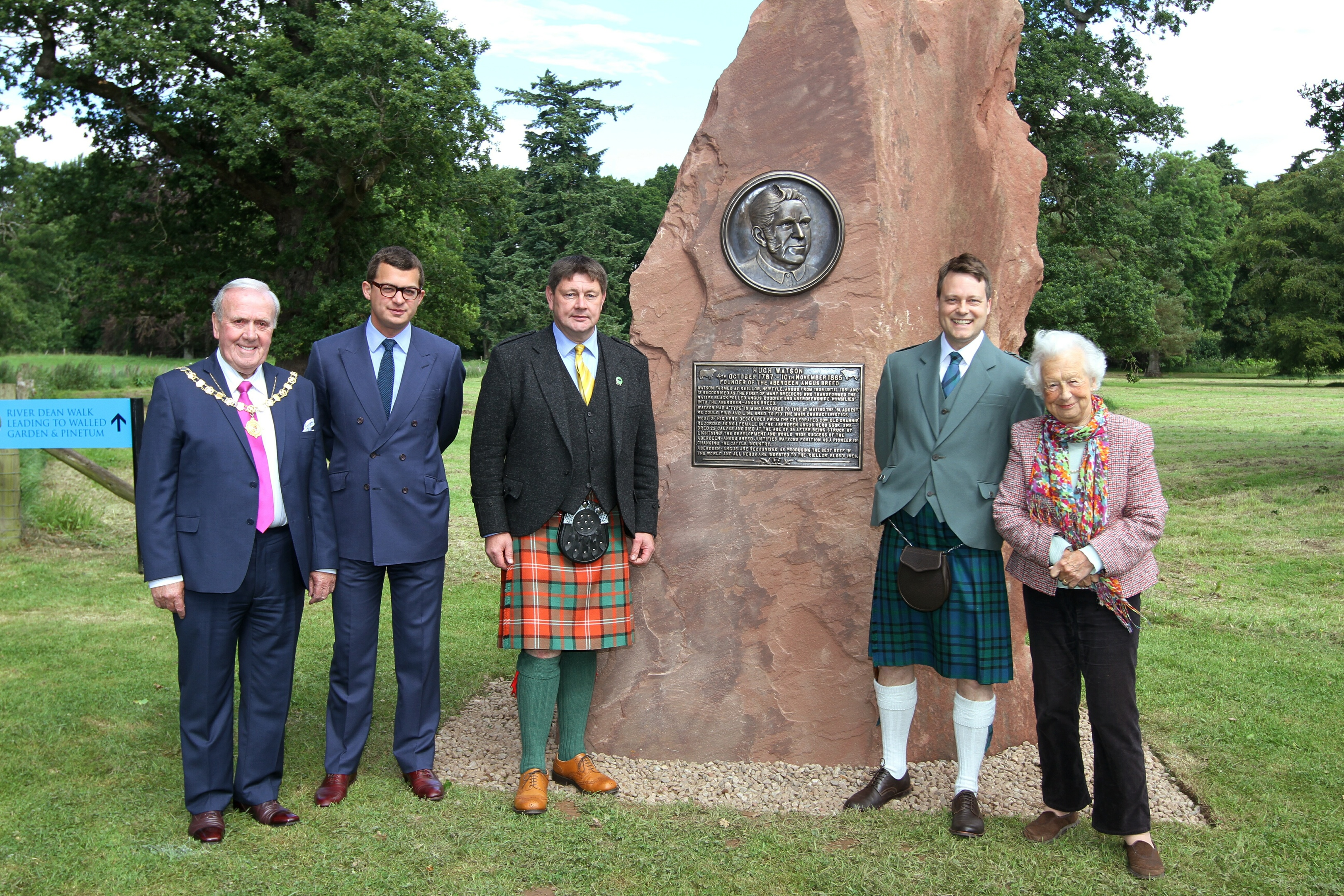 From left - Angus depute Provost Colin Brown, Lord Strathmore, Alex Sanger, Roddy Mathieson, and Mary, Dowager Countess Strathmore