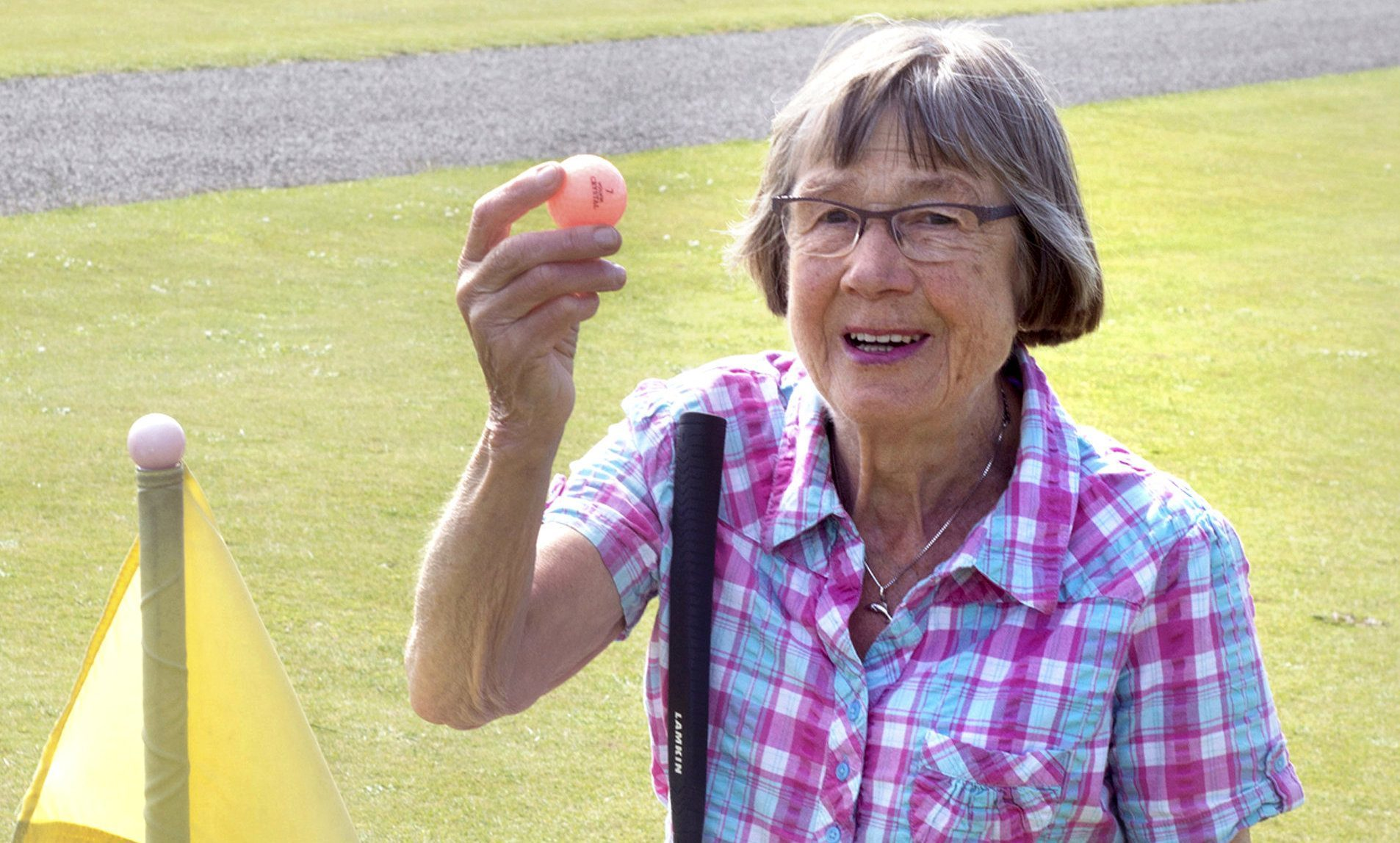 Elizabeth Picton with her favourite golf ball.