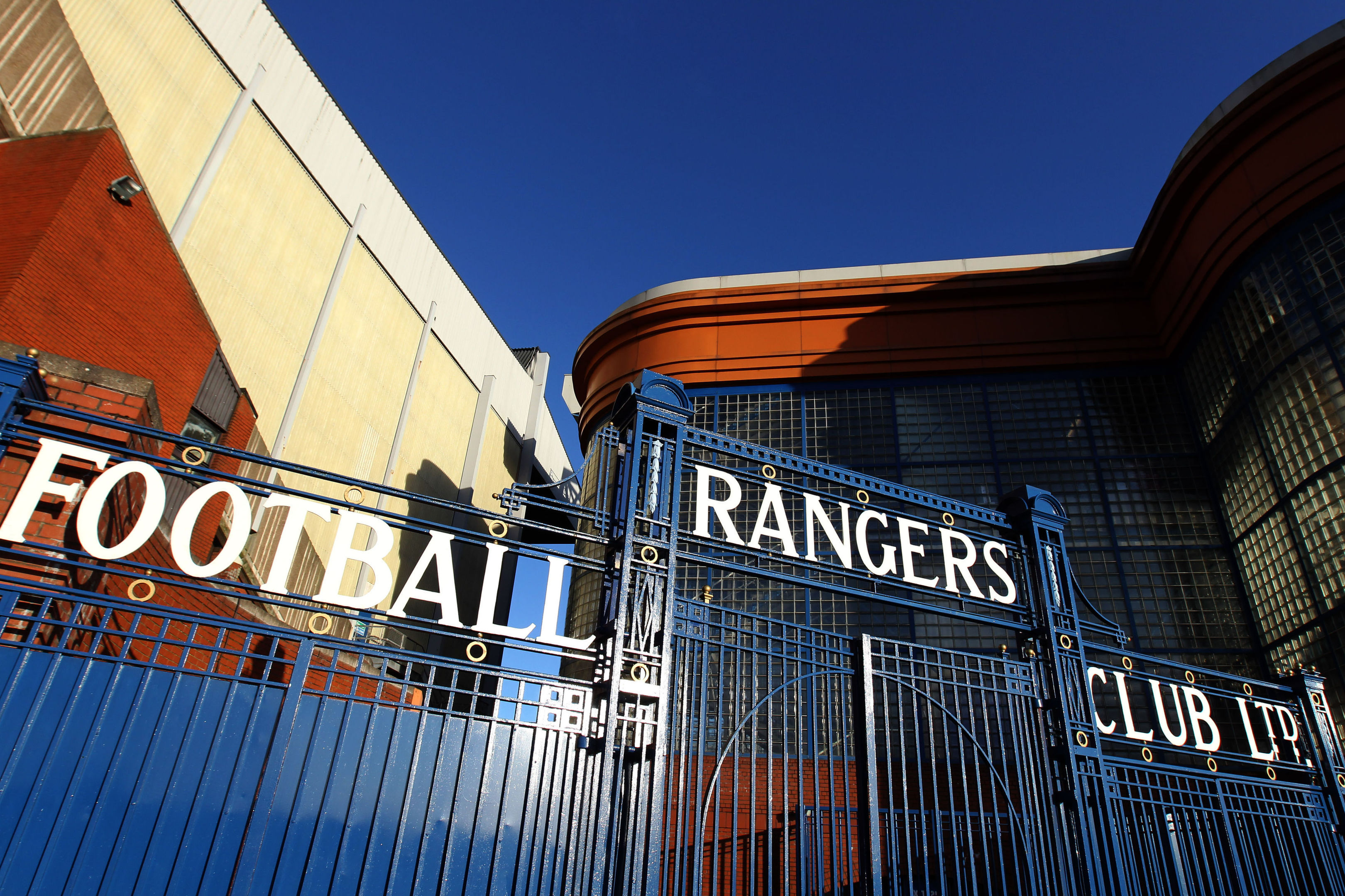 The gates at Ibrox Stadium.