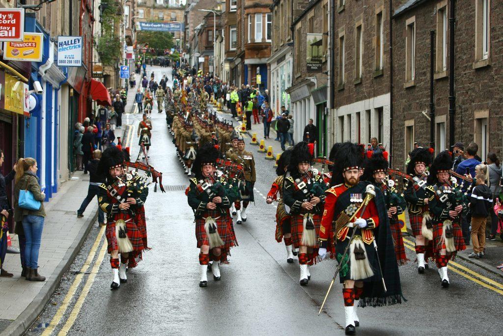 The parade makes it's way through Crieff.