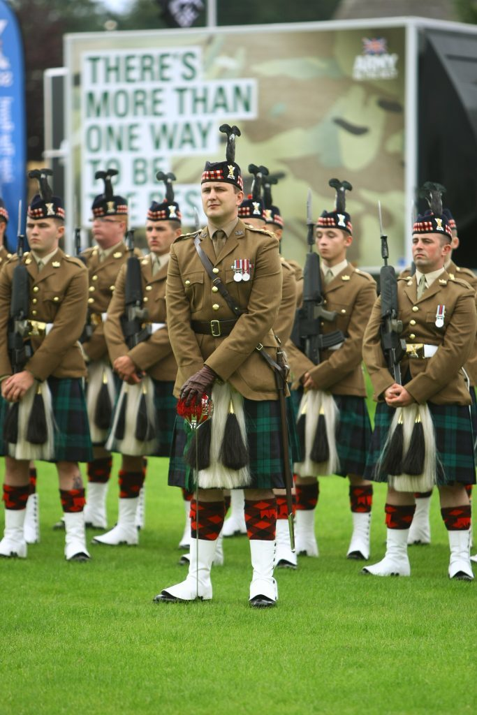Members of 3 Scots, Royal Regiment of Scotland, at the parade and Drumhead Service to mark the 100th anniversary of the Battle of Passchendaele, in Crieff.