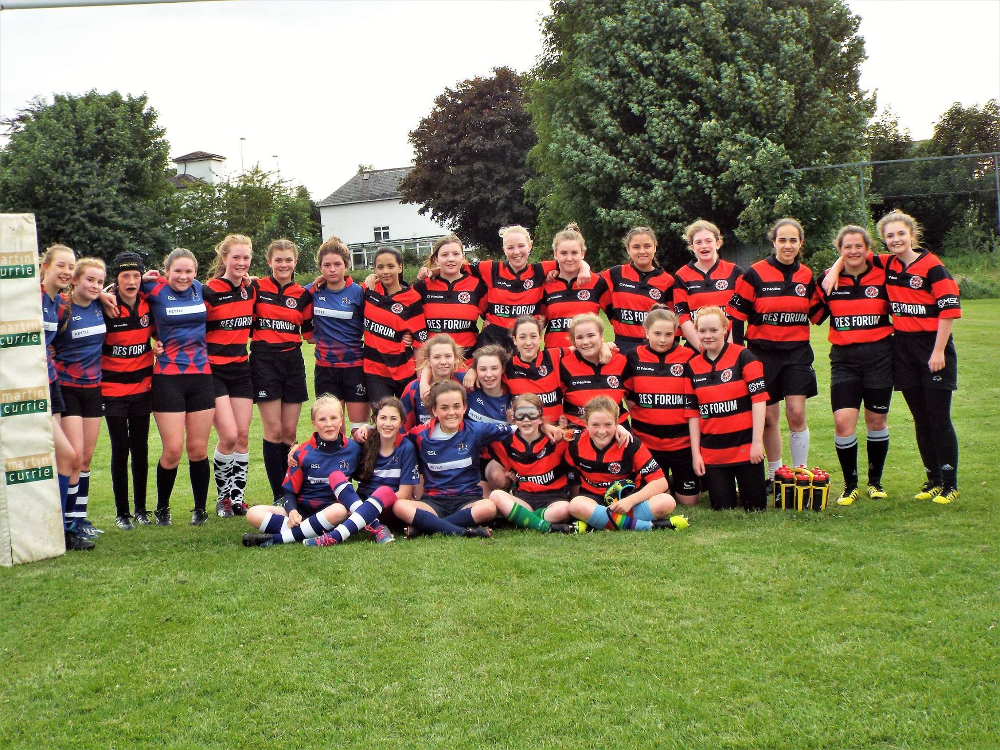 The Dundee Rugby and Howe Harlequins teams after their inaugural match this week.