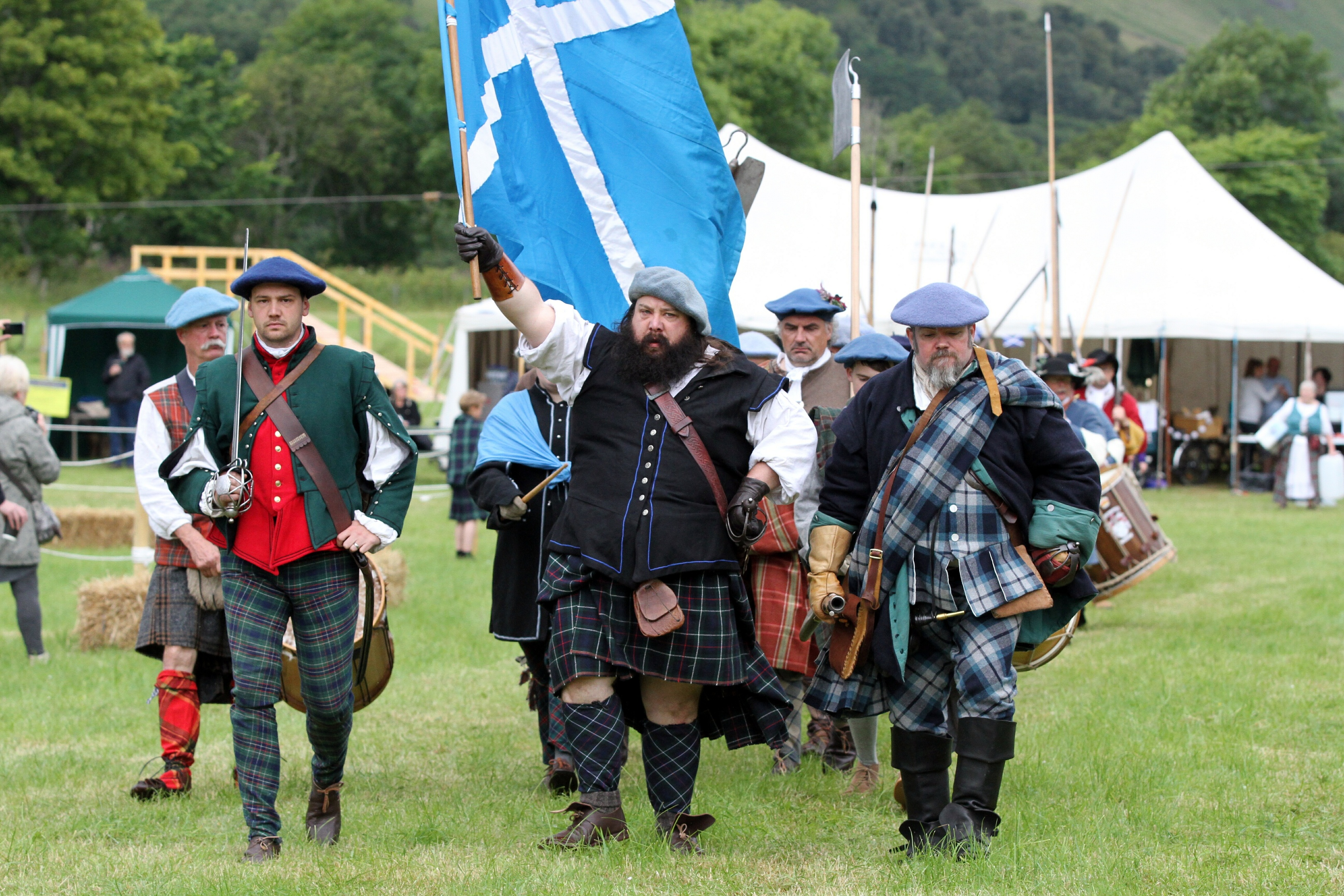 Soldiers march at the opening of last year's soldiers of Killiecrankie re-enactment event. Now locals are ready for their own fight with the battlefield under threat.