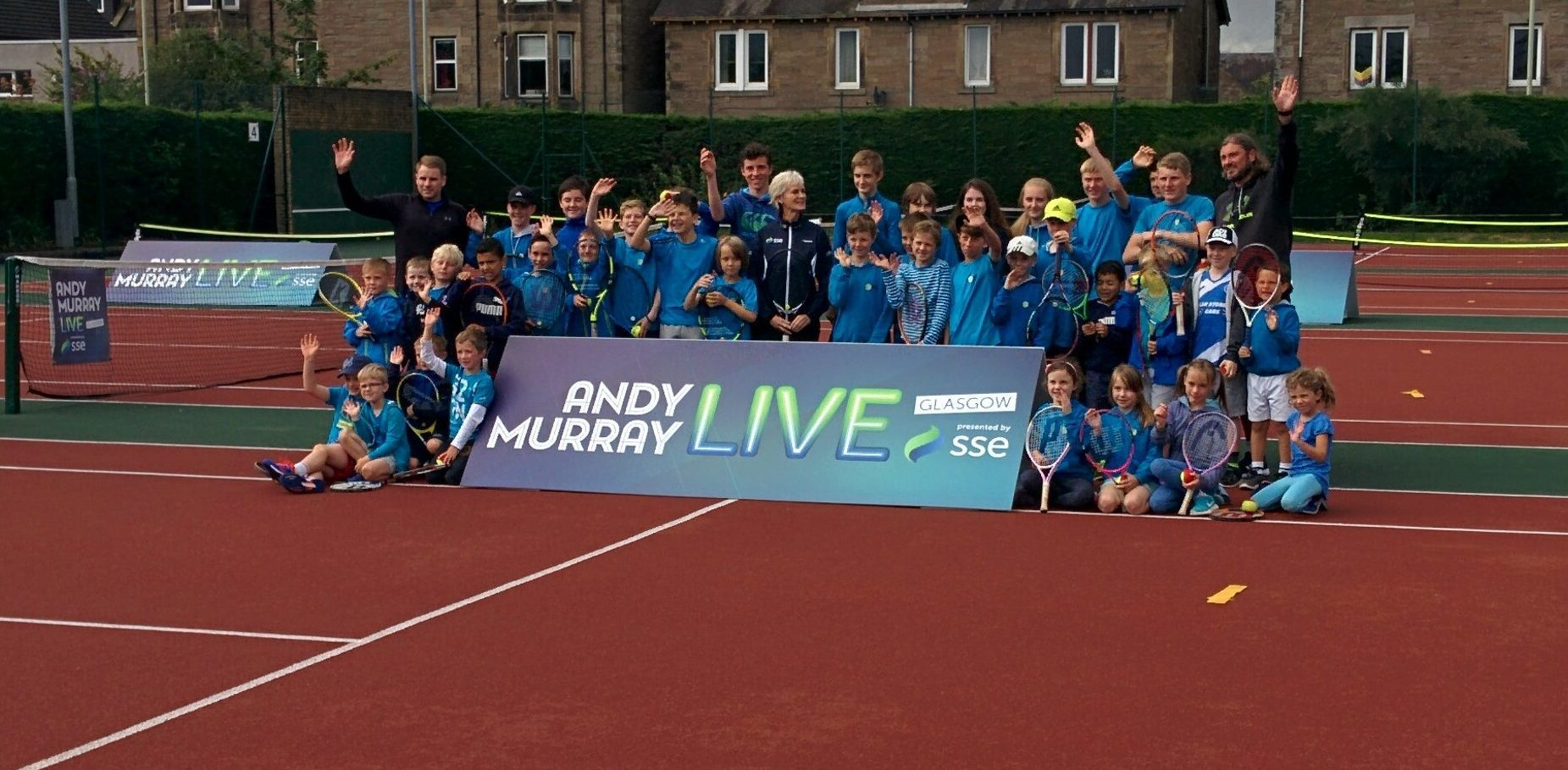 Judy Murray with youngsters at Perth Tennis Club