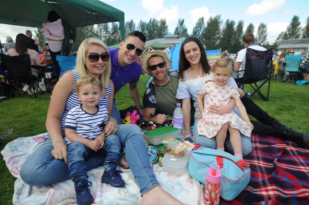 Spencer, Katy and Sean Allan, Ian, Lisa and Olivia Hutton enjoying their day, Perth Races Family Day.