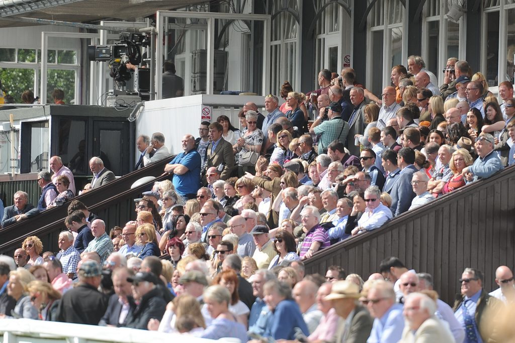Packed stands at Perth Races Family Day.
