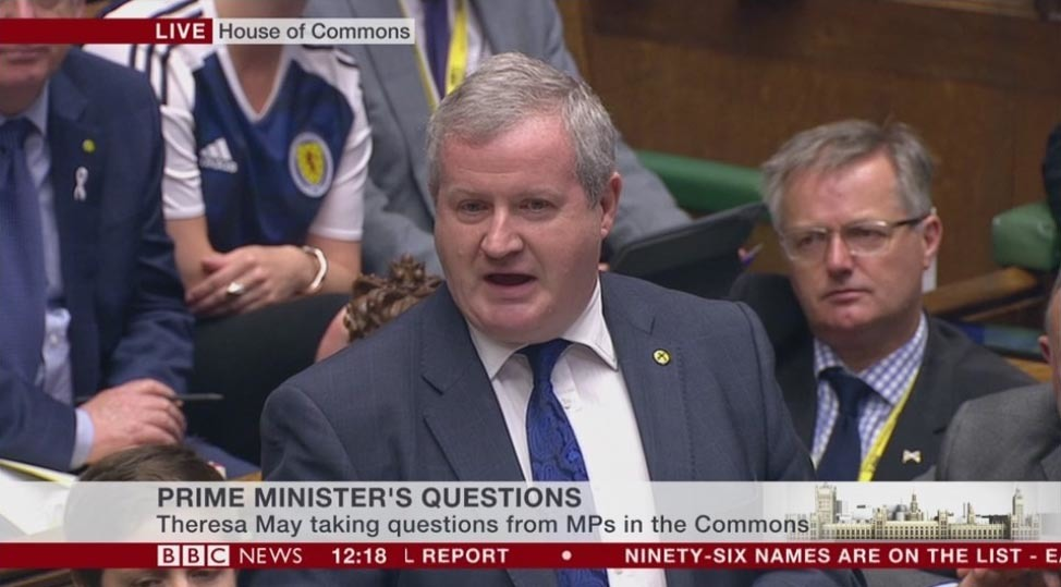 Hannah Bardell's Scotland top was visible as the SNP's Westminster leader Ian Blackford put questions to the Prime Minister.