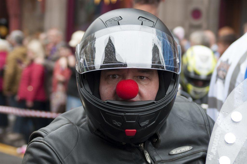 A Red Nose Biker.