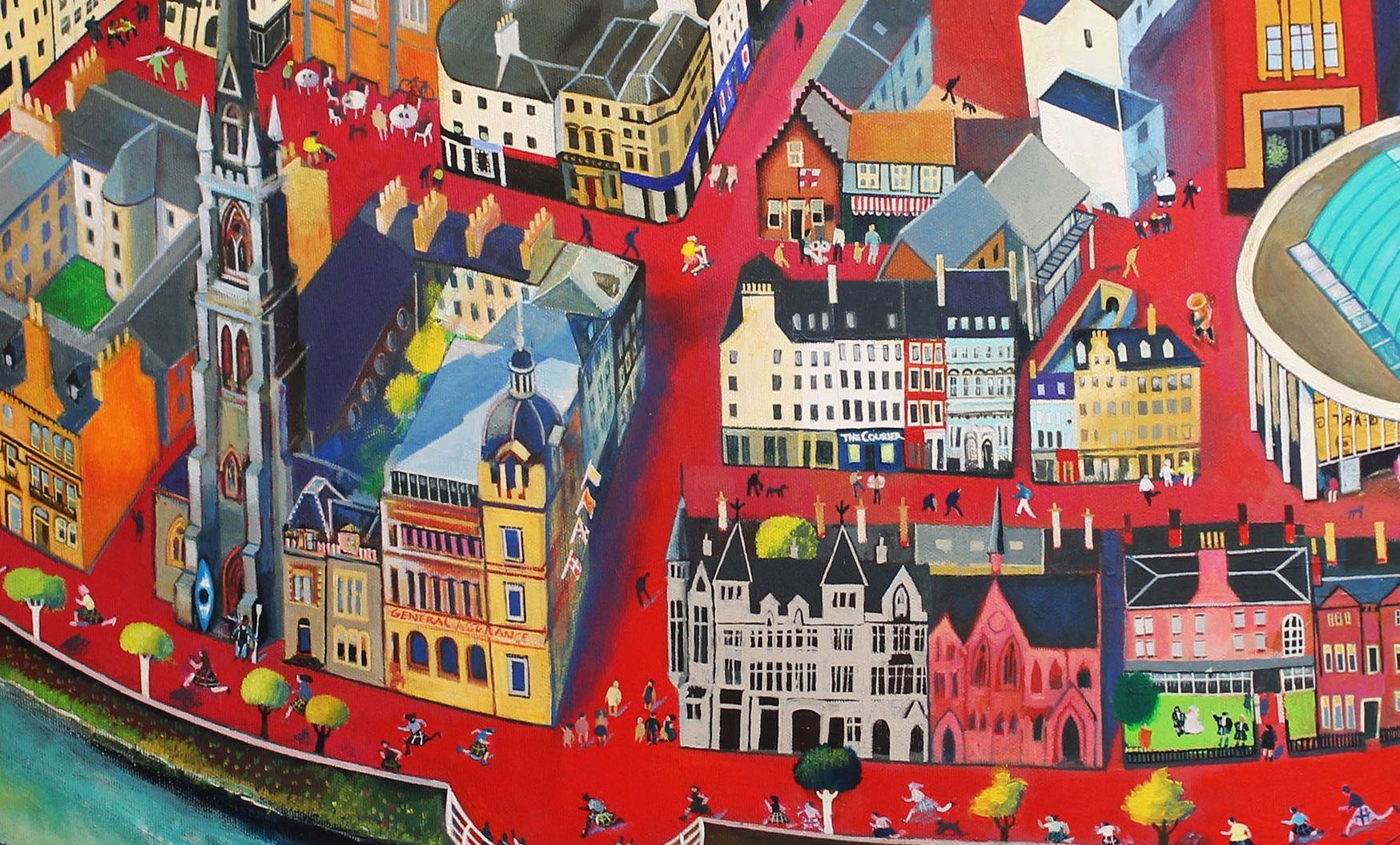 Part of the painting by Rob Hain showing the Courier office and Rev Scott Burton
