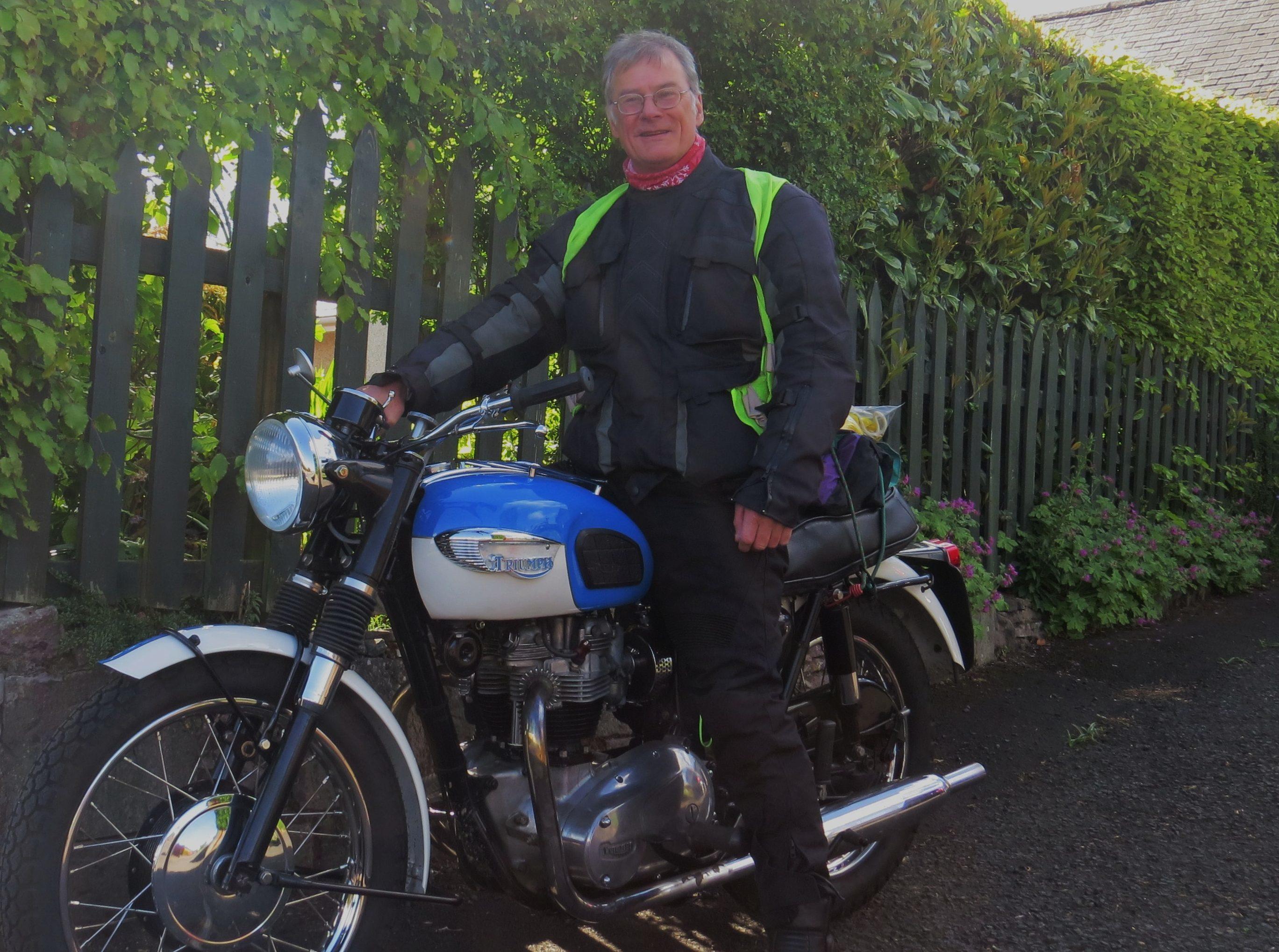 Rod Richardson with his 1966 Triumph bike.