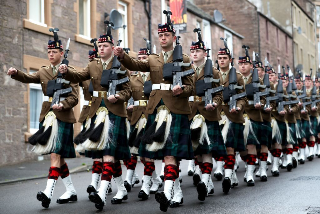 Soldiers from The Royal Regiment of Scotland Black Watch (3 SCOTS) march.