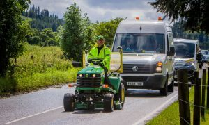 VIDEO: Lawnmower man changes course after A9 charity drive proves too dangerous