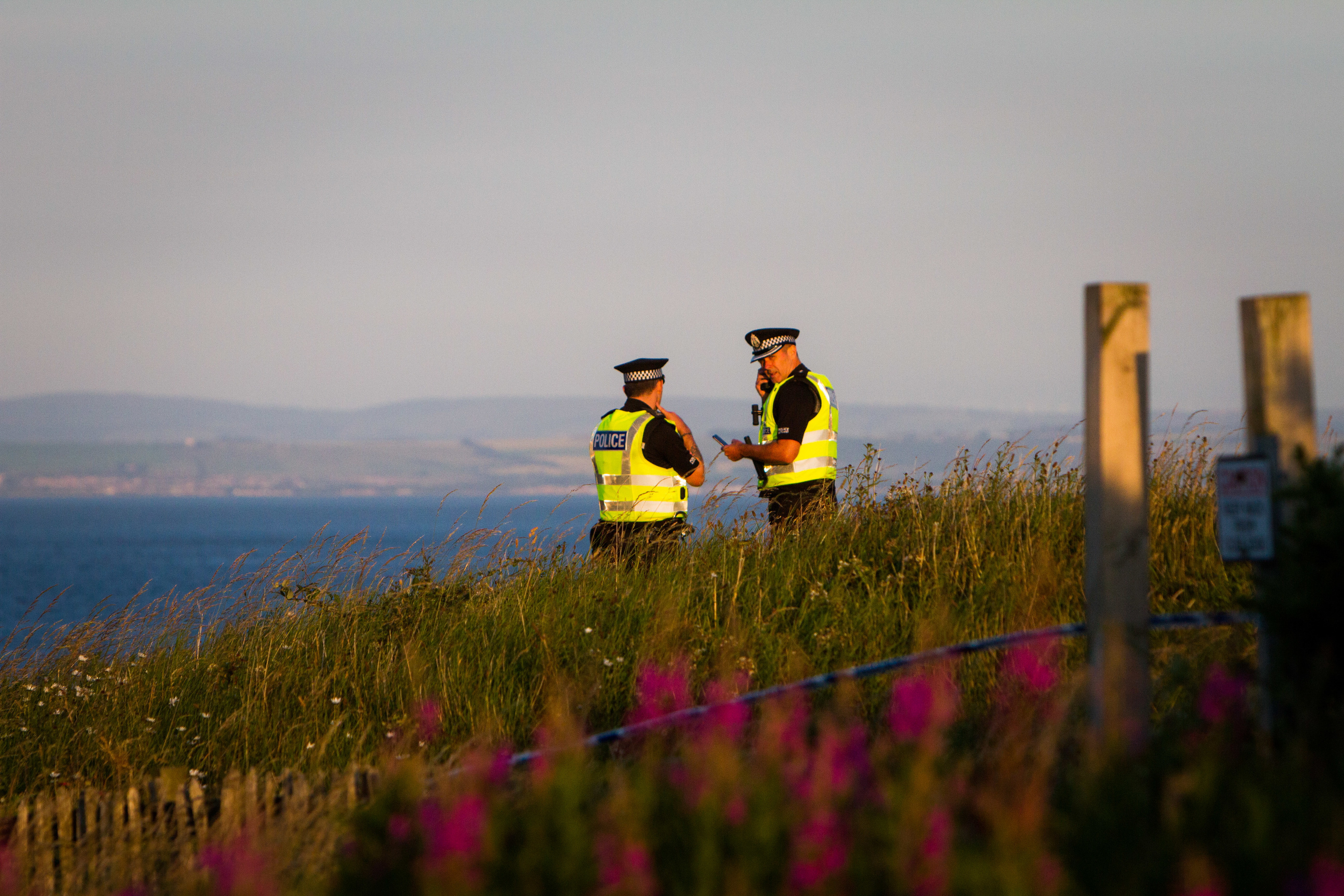 Police at the scene at Hawkcraig Point, Aberdour.