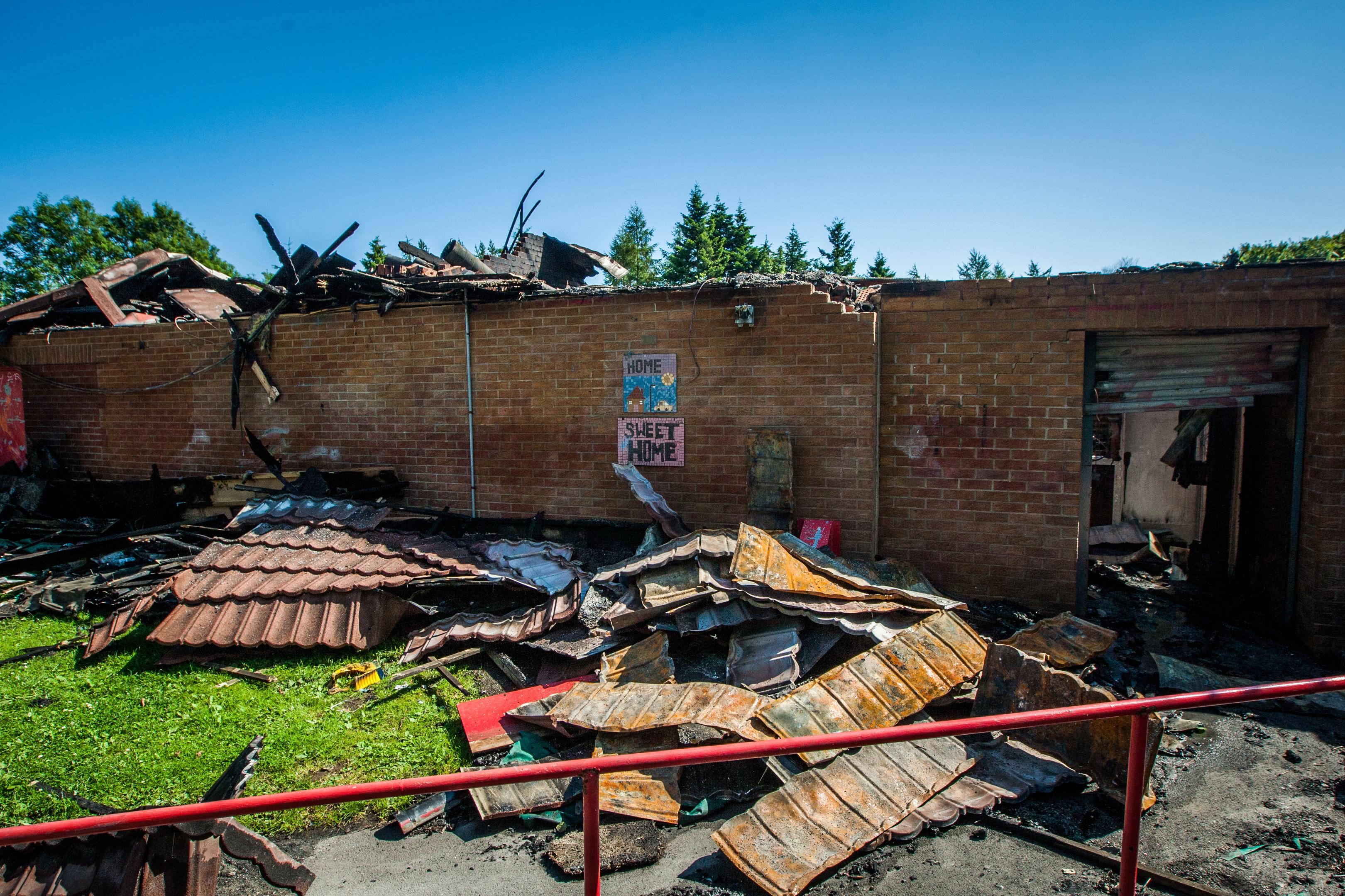 The fire damaged Mill O' Mains Community Pavilion.