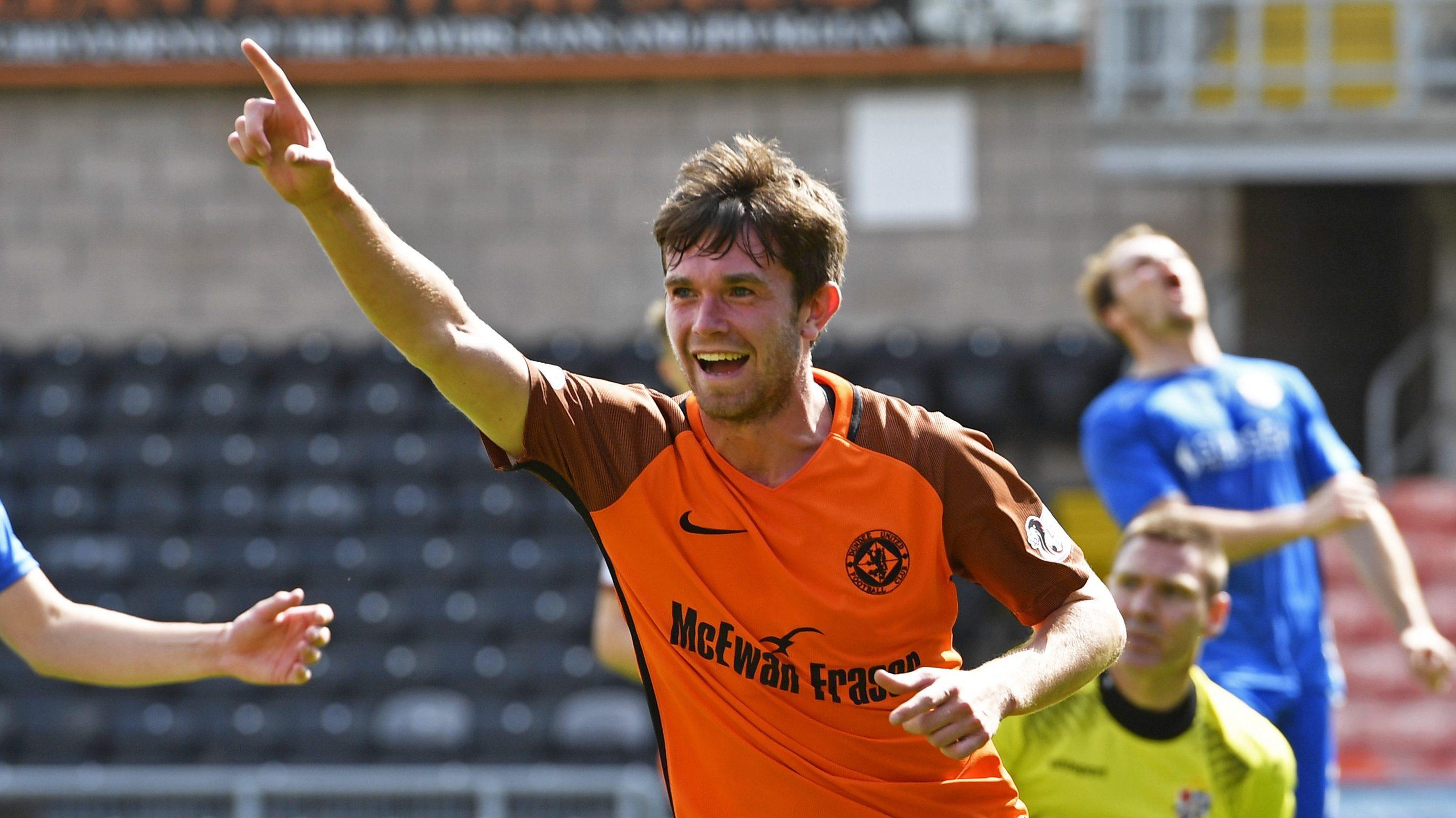 Sam Stanton celebrates his goal.
