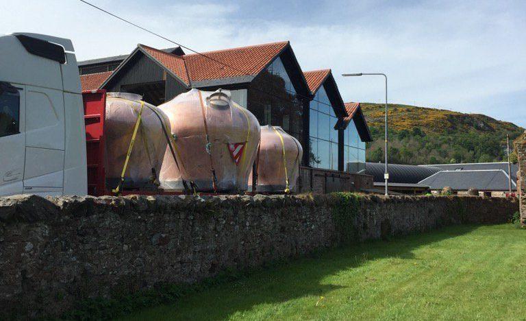 Stills arrive at Lindores Distillery.