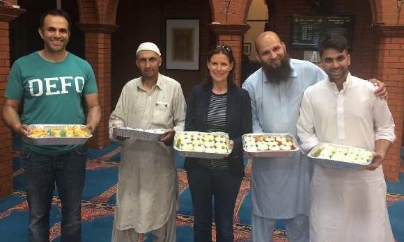 The Bake down Barriers message reaches Aylesbury mosque.