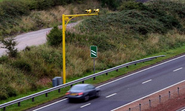 An average speed camera on the A9 near Blackford.