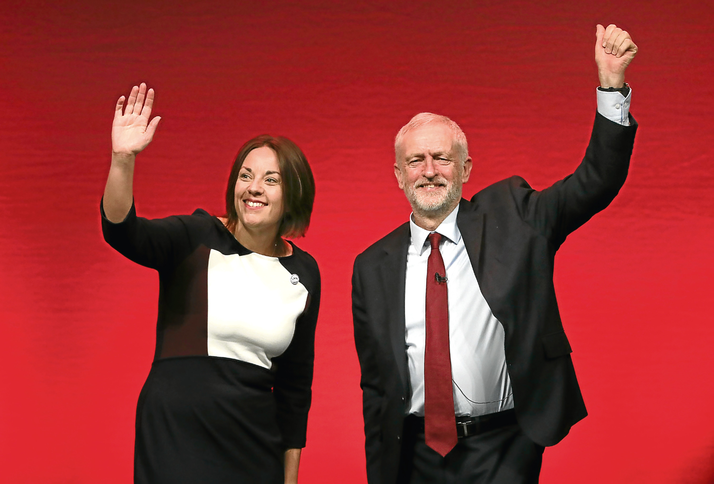 Former Scottish Labour leader Kezia Dugdale and Labour leader Jeremy Corbyn.