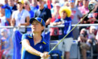 Catriona Matthew watches her opening tee shot during the final day singles at the Solheim Cup in 2017.