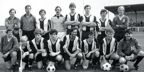 Manchester United legend George Best lining up with Arbroath Vics in 1982 alongside David Johnstone.