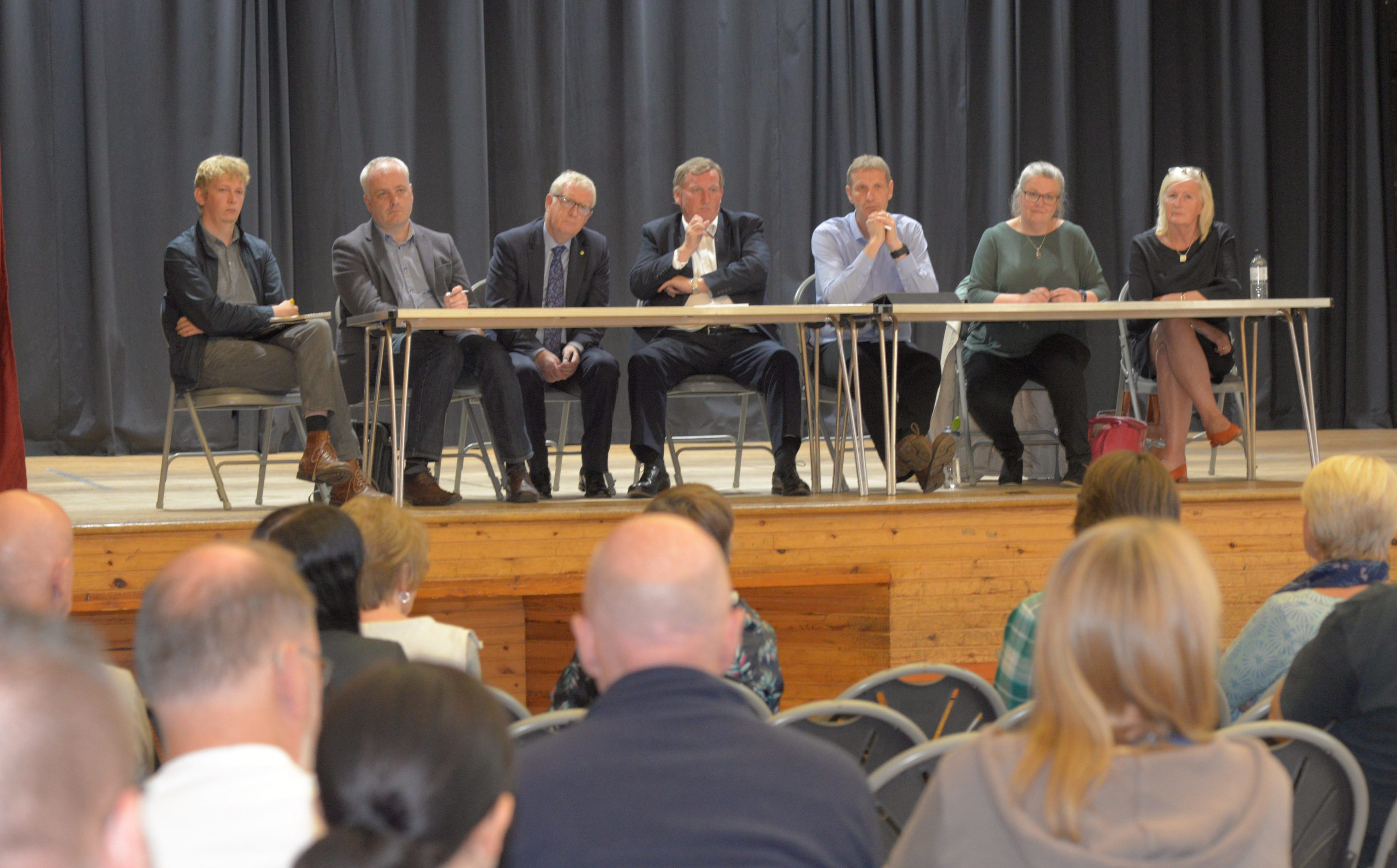 The panel facing the public at the meeting in Inverkeithing High School.