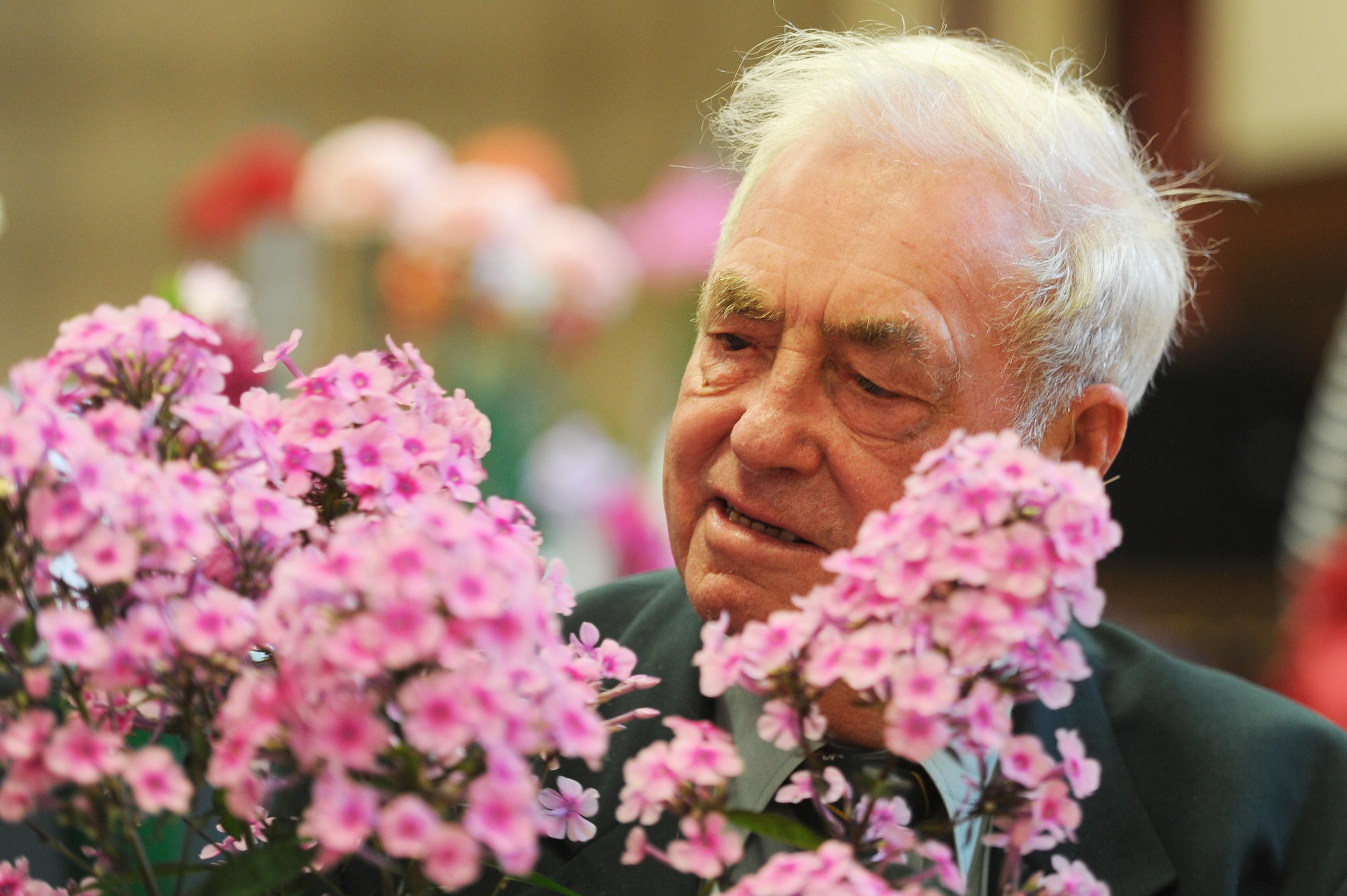 Forfar Horticultural Society Chairman, Les Craib with his phlox plant.