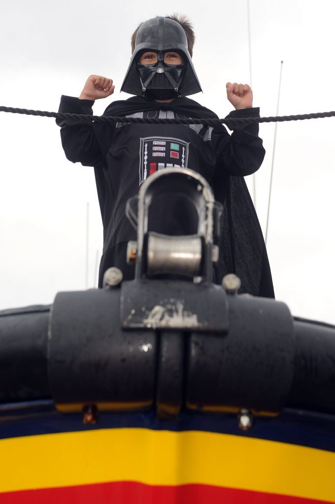The force is strong with this one - Jess Hirst (5) went with the Darth Vader effect on the Arbroath Lifeboat.