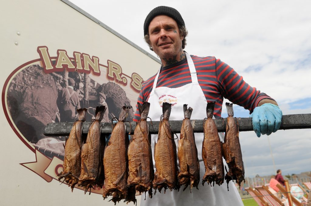 One of the traditional stalls - Robbie Boyd was serving up Smokies on the Iain R Spink stall.