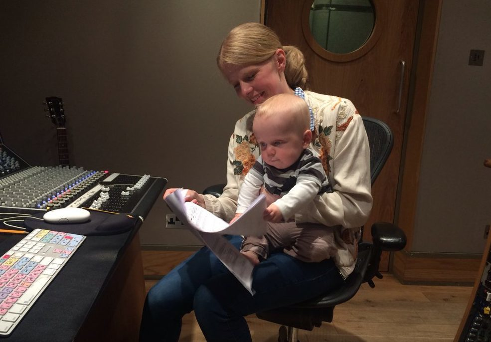 Olga Fitzroy in the recording studio with her son Lucas
