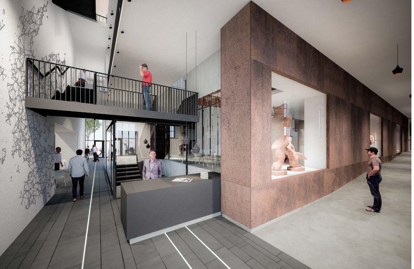 An illustration of plans for the interior of Perth City Hall by architects Mecanoo.