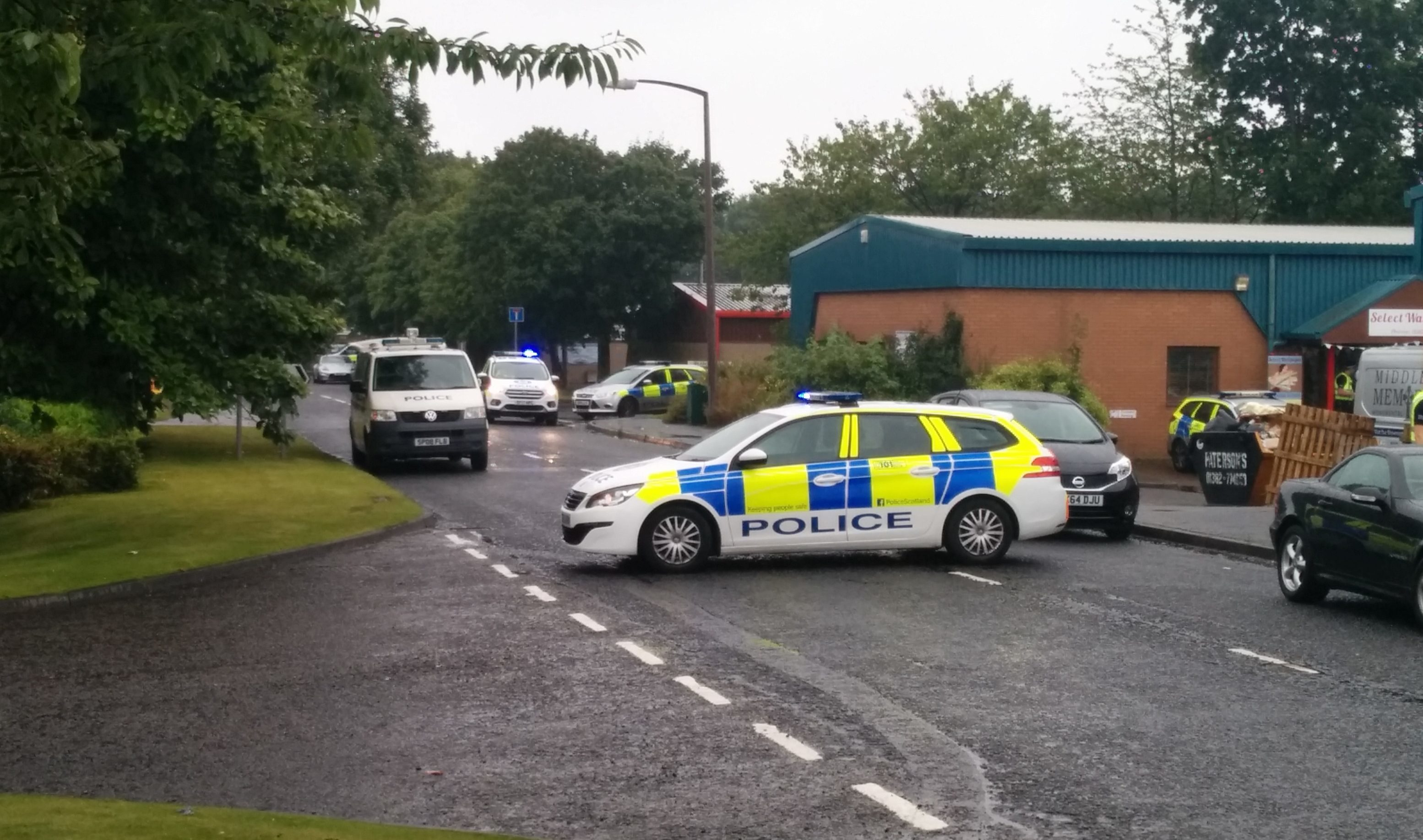 The scene at West Pitkerro Industrial Estate on Wednesday evening.