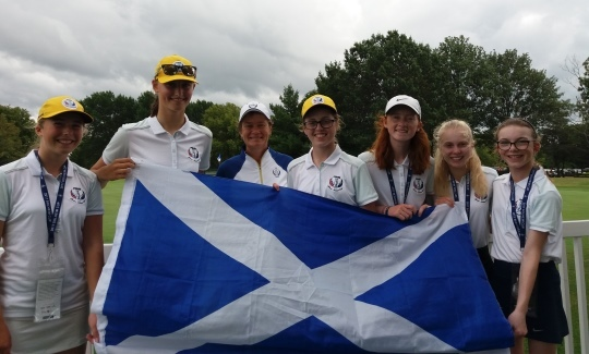 The Project19 girls with Scotland's Catriona Matthew at the Solheim Cup last weekend.