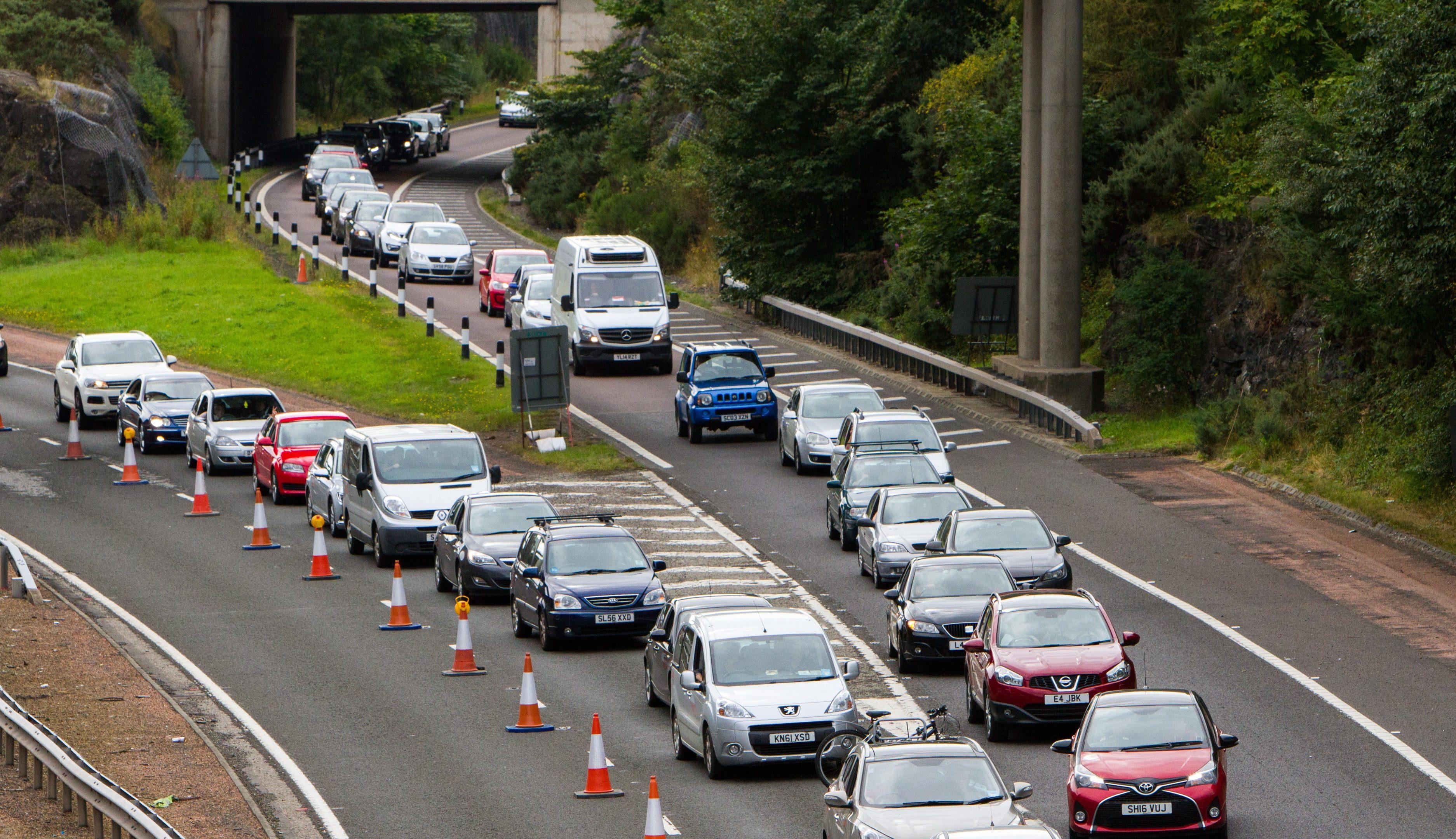 Roadworks at the Friarton Bridge, Perth, earlier this year.