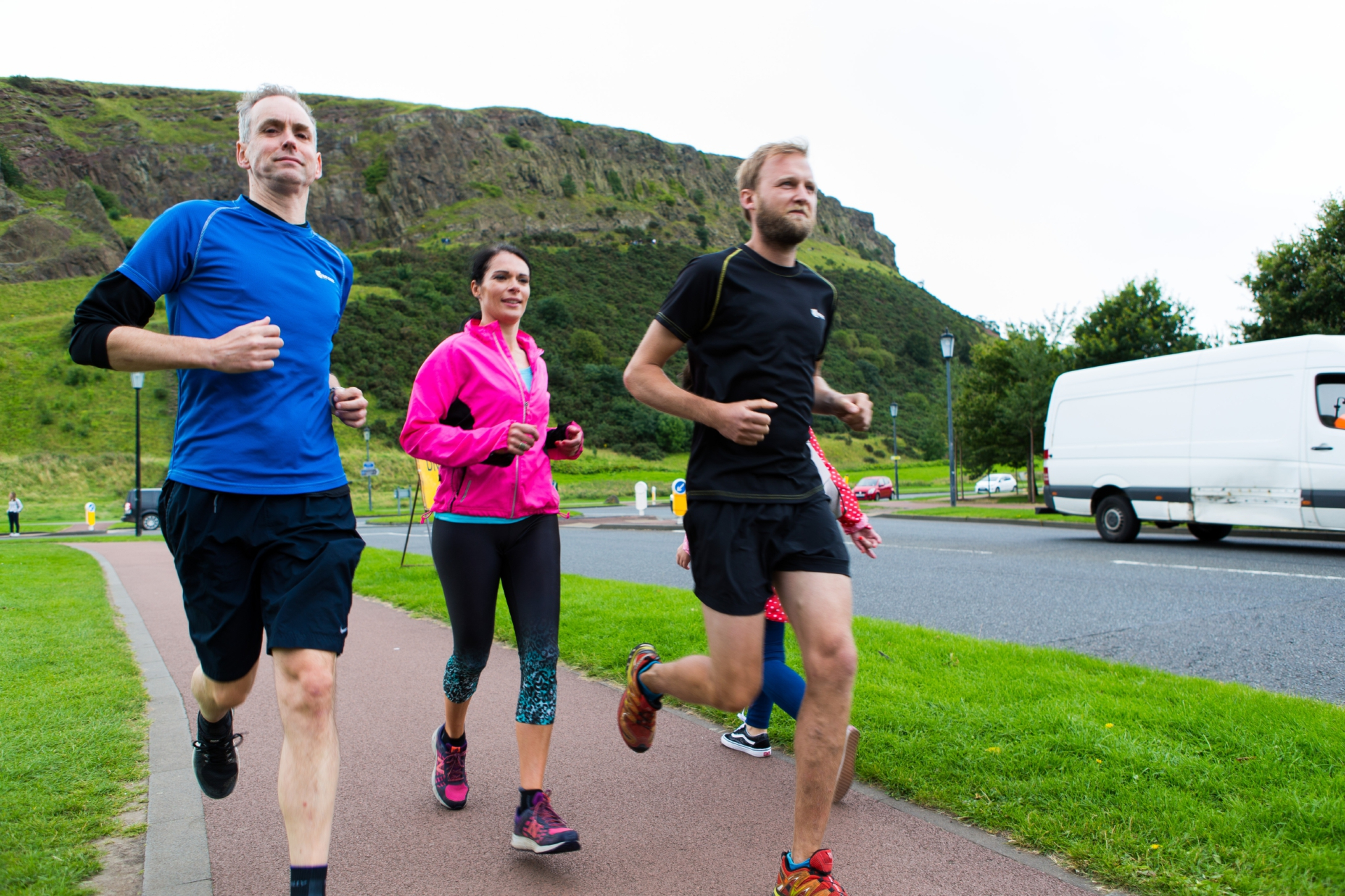 Gayle Ritchie goes for a training recce run in the shadow of Arthur's Seat with Paddy Cuthbert and Stewart Caithness.