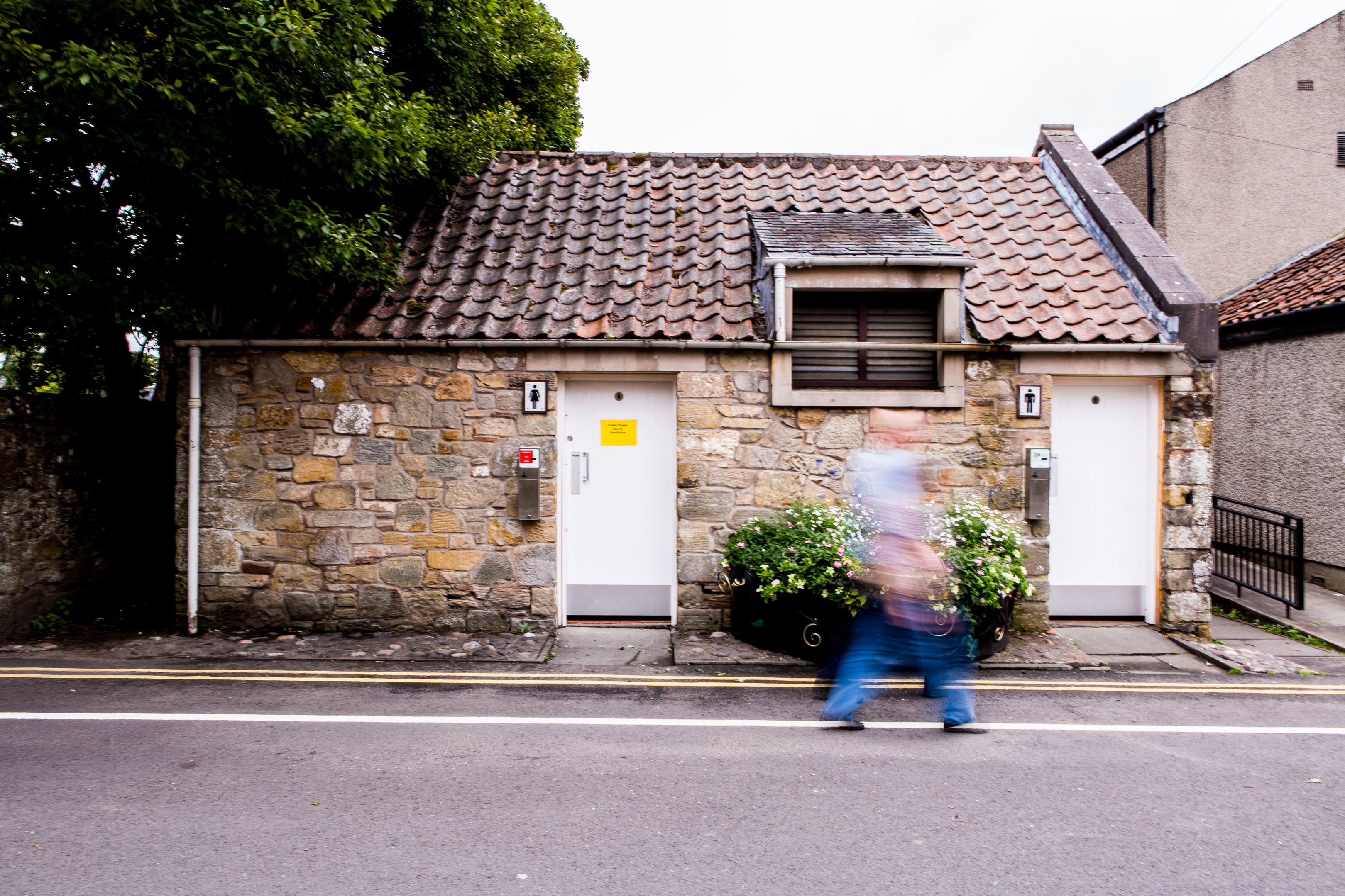 The public toilets in Falkland were closed due to vandalism.