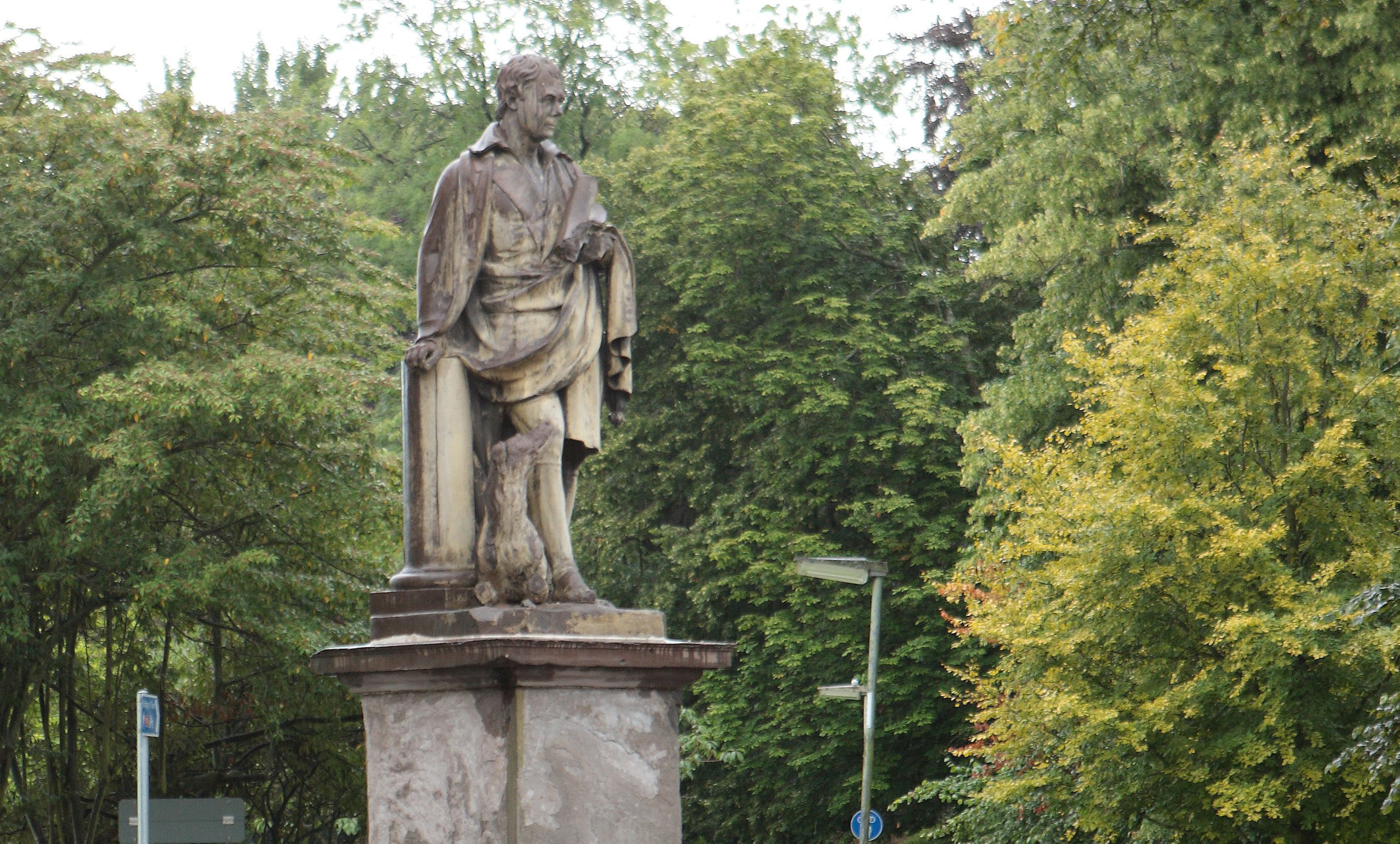 The refurbished statue of Sir Walter Scott at the South Inch, Perth.